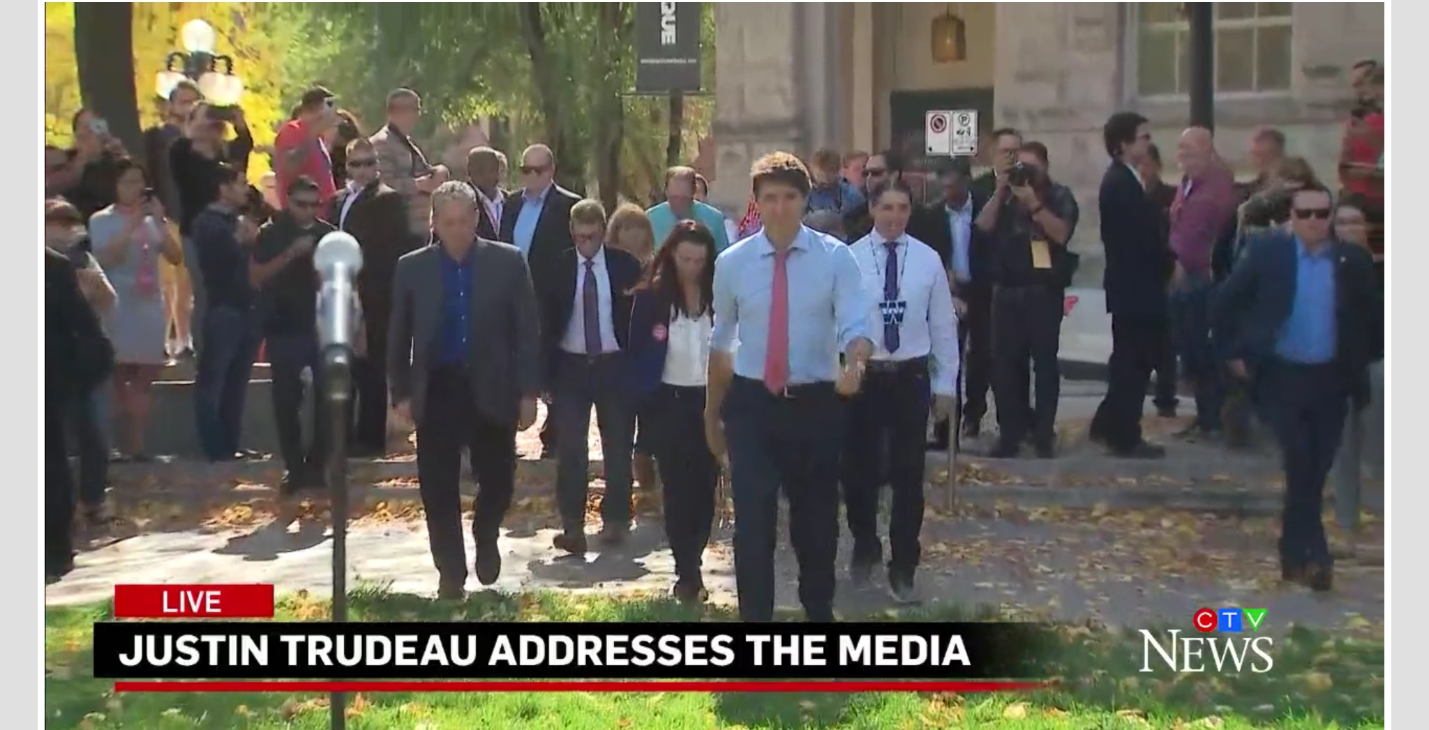 Canadian Prime Minister Justin Trudeau speaks to reporters at a news conferenced in Winnipeg, Manitoba, Sept. 19, 2019. CTV News screenshot