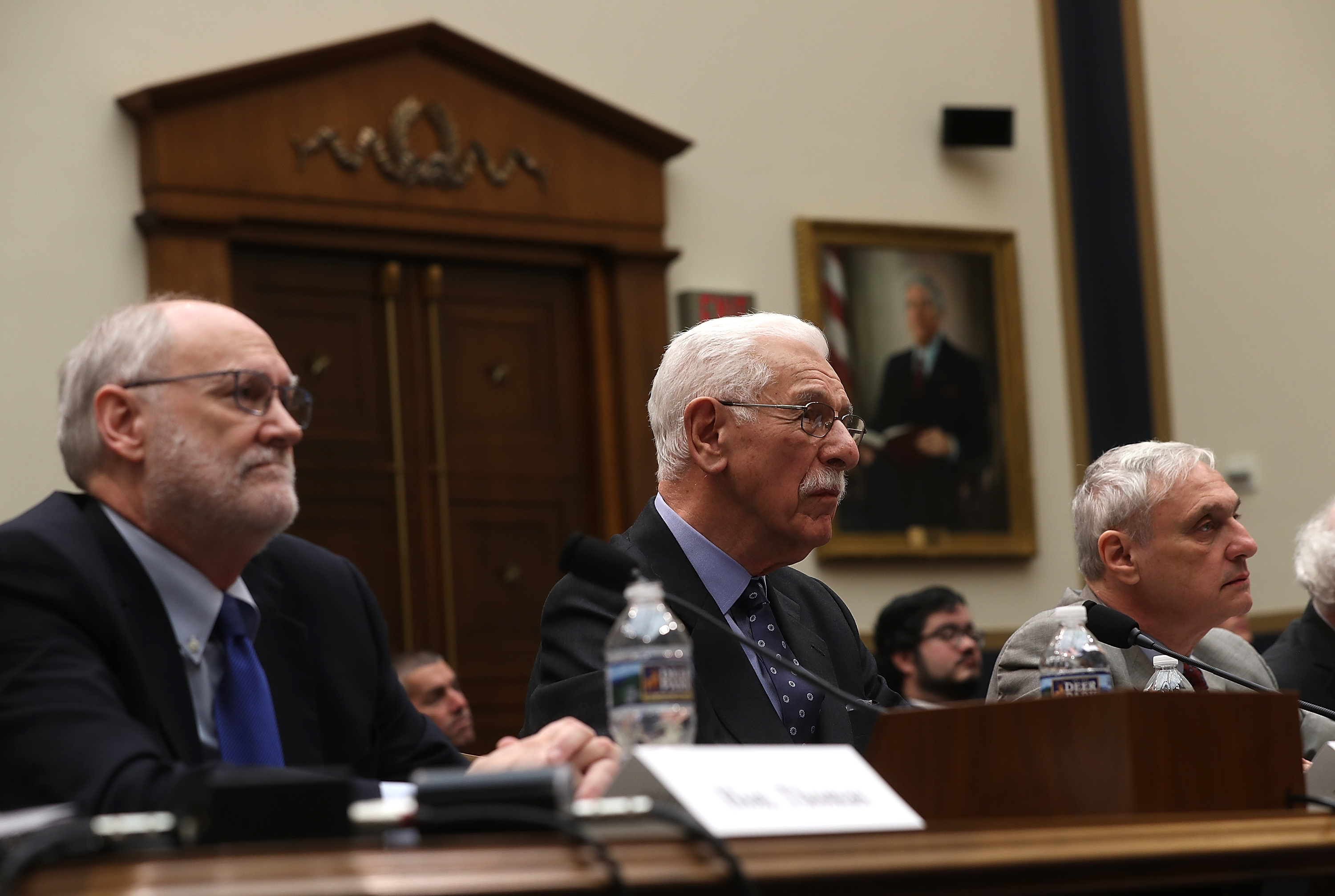 Ninth Circuit Judges Sidney Thomas, Carlos Bea and Alex Kozinski (L-R) during a House Judiciary Committee hearing on March 16, 2017. (Justin Sullivan/Getty Images)