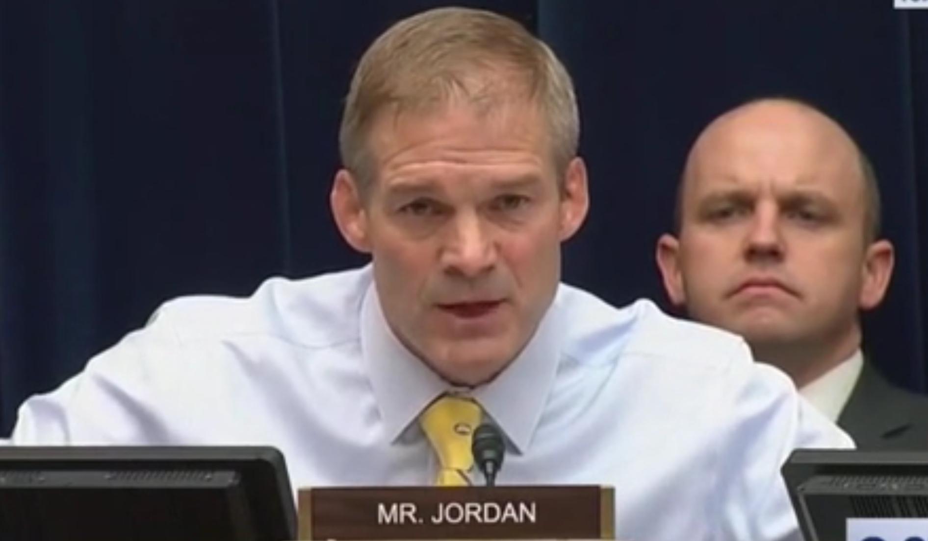 Ohio Republican Rep. Jim Jordan speaks at the House Oversight on Civil Rights and Civil Liberties subcommittee, Sept. 11, 2019. CSPAN screenshot.