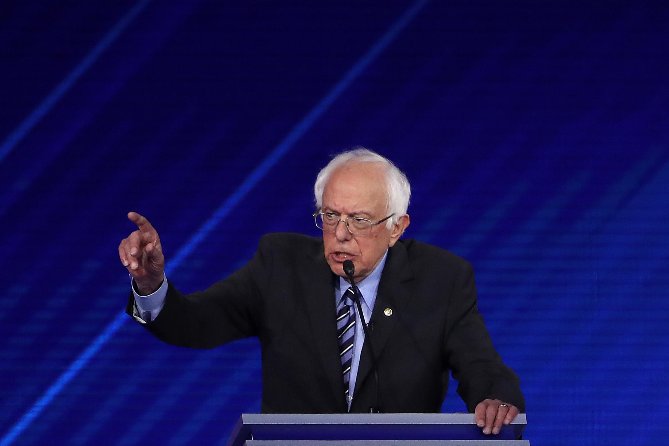 HOUSTON, TEXAS - SEPTEMBER 12: Democratic presidential candidate Sen. Bernie Sanders (I-VT) speaks during the Democratic Presidential Debate at Texas Southern University's Health and PE Center on September 12, 2019 in Houston, Texas. (Win McNamee/Getty Images)