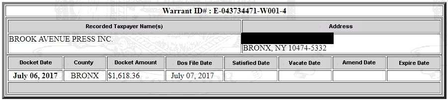 Brook Avenue Press Tax Warrant (Screenshot / New York State Department of State Tax Warrant Notice System)