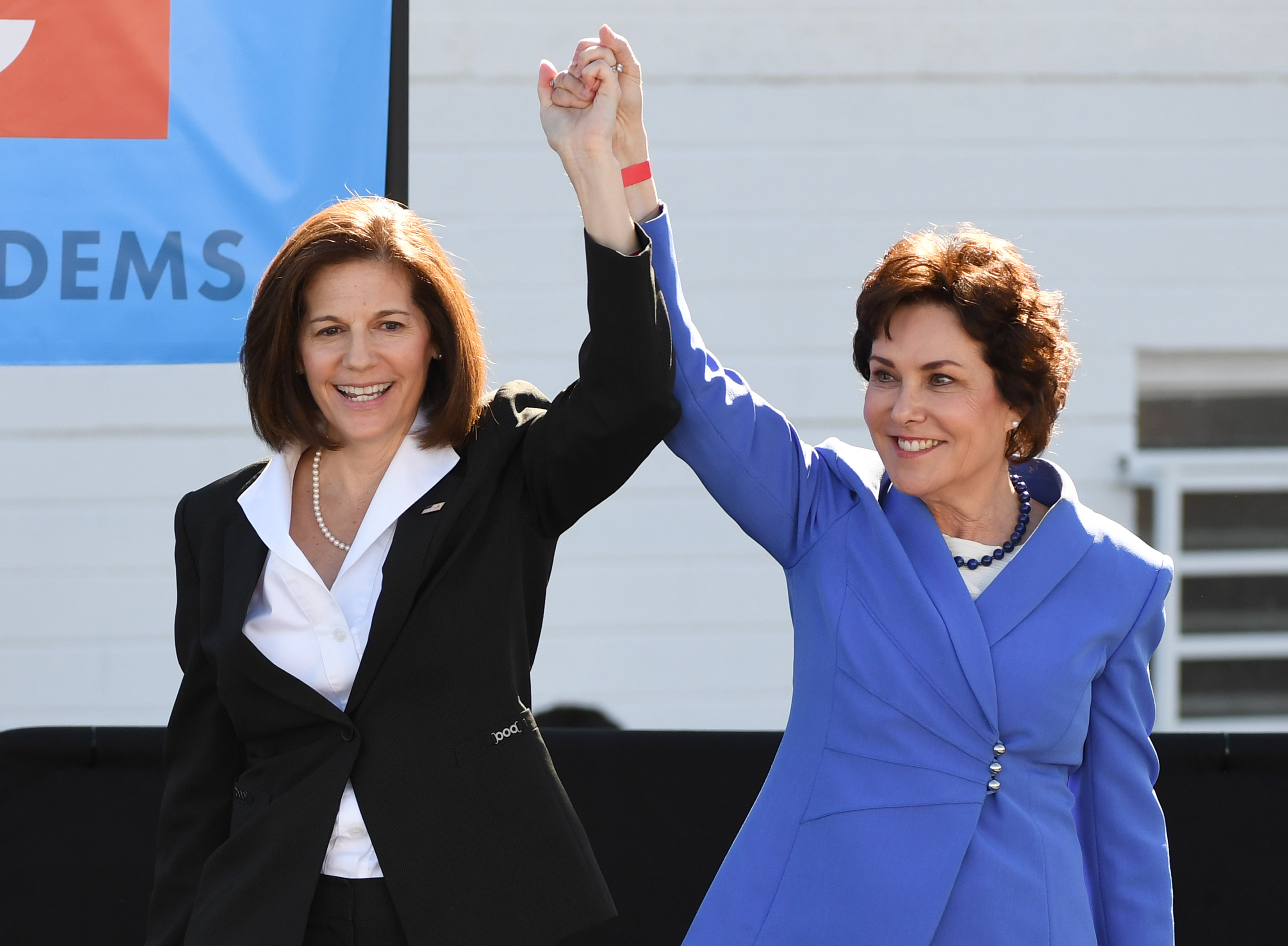 U.S. Sens. Catherine Cortez Masto (L) and Jacky Rosen of Nevada during a rally on October 20, 2018 in Las Vegas, Nevada. (Ethan Miller/Getty Images)