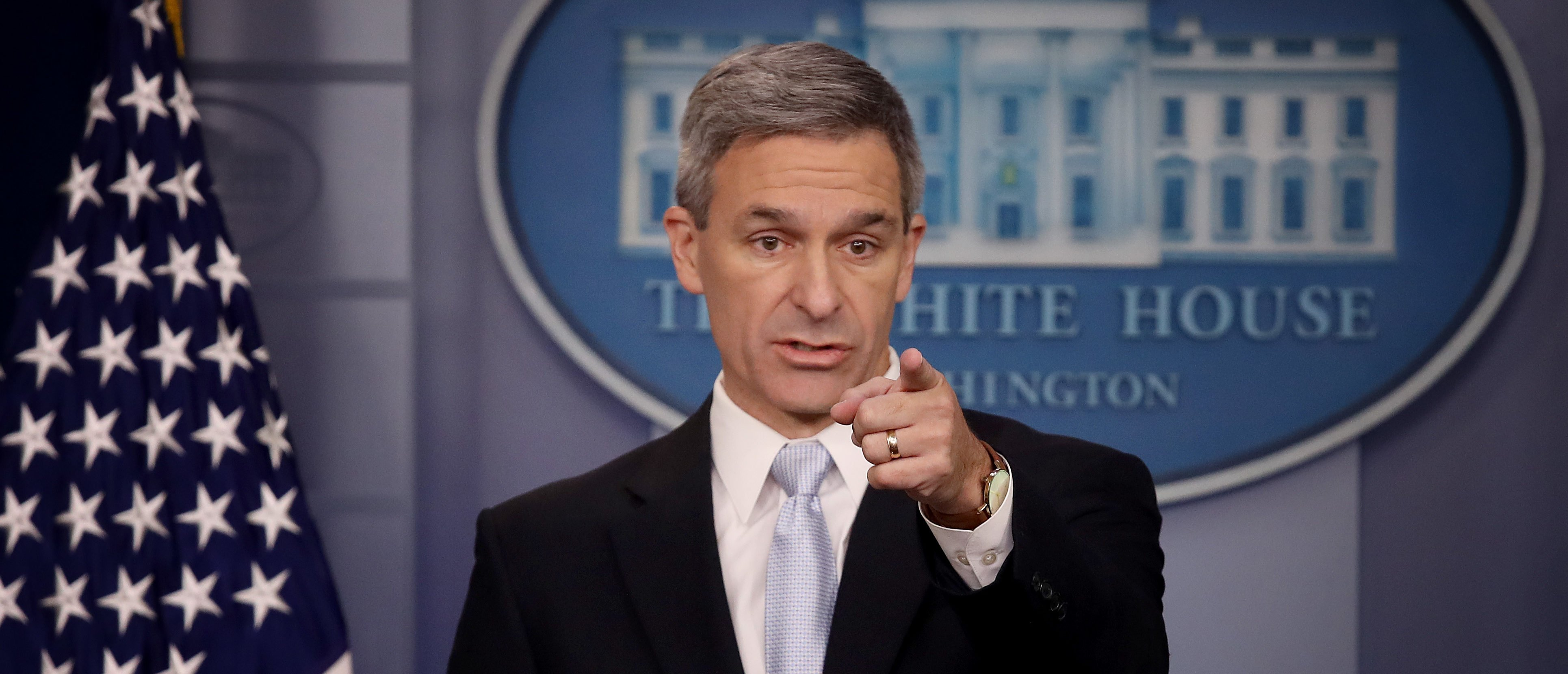 Acting Director of U.S. Citizenship and Immigration Services Ken Cuccinelli speaks about immigration policy at the White House during a briefing Aug. 12, 2019 in Washington, D.C. (Photo by Win McNamee/Getty Images)