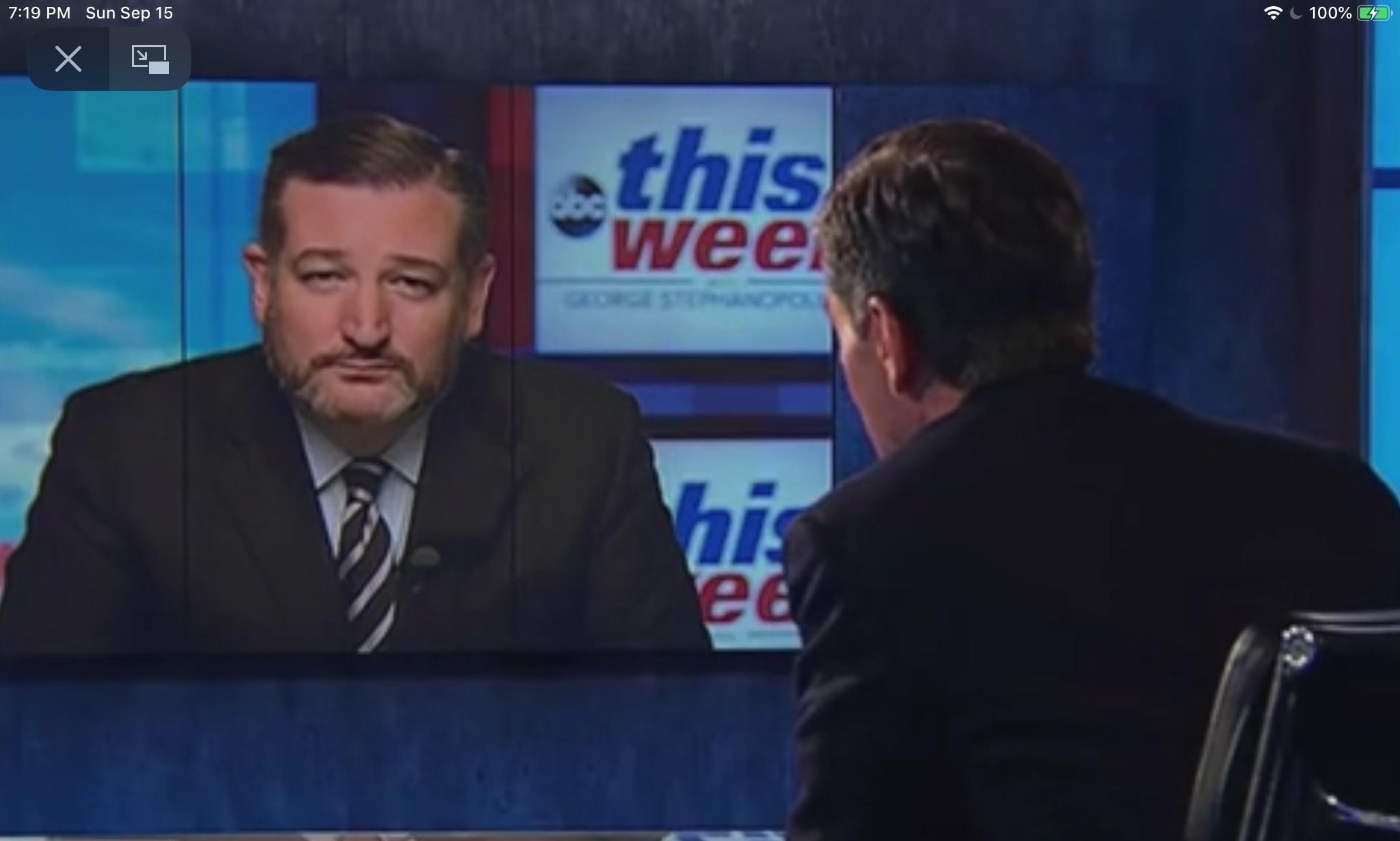 "Sen. Ted Cruz discusses the latest political events on ""This Week With George Stephanopoulos,"" Sept. 15, 2019. ABC News screenshot."