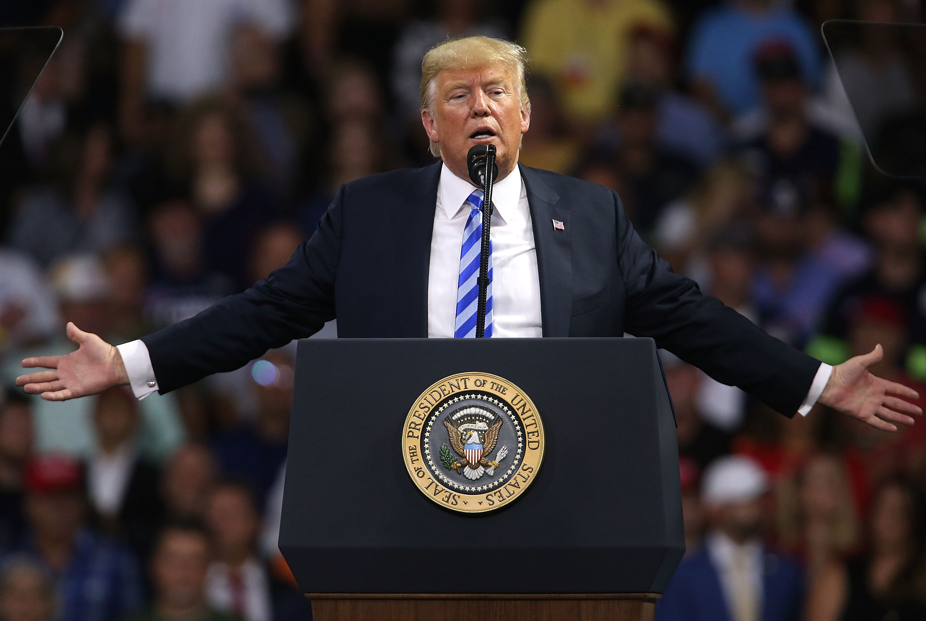 CHARLESTON, WV - AUGUST 21: President Donald Trump speaks at a rally on August 21, 2018 in Charleston, West Virginia. Paul Manafort, a former campaign manager for Trump and a longtime political operative, was found guilty in a Washington court today of not paying taxes on more than $16 million in income and lying to banks where he was seeking loans. (Photo by Spencer Platt/Getty Images)