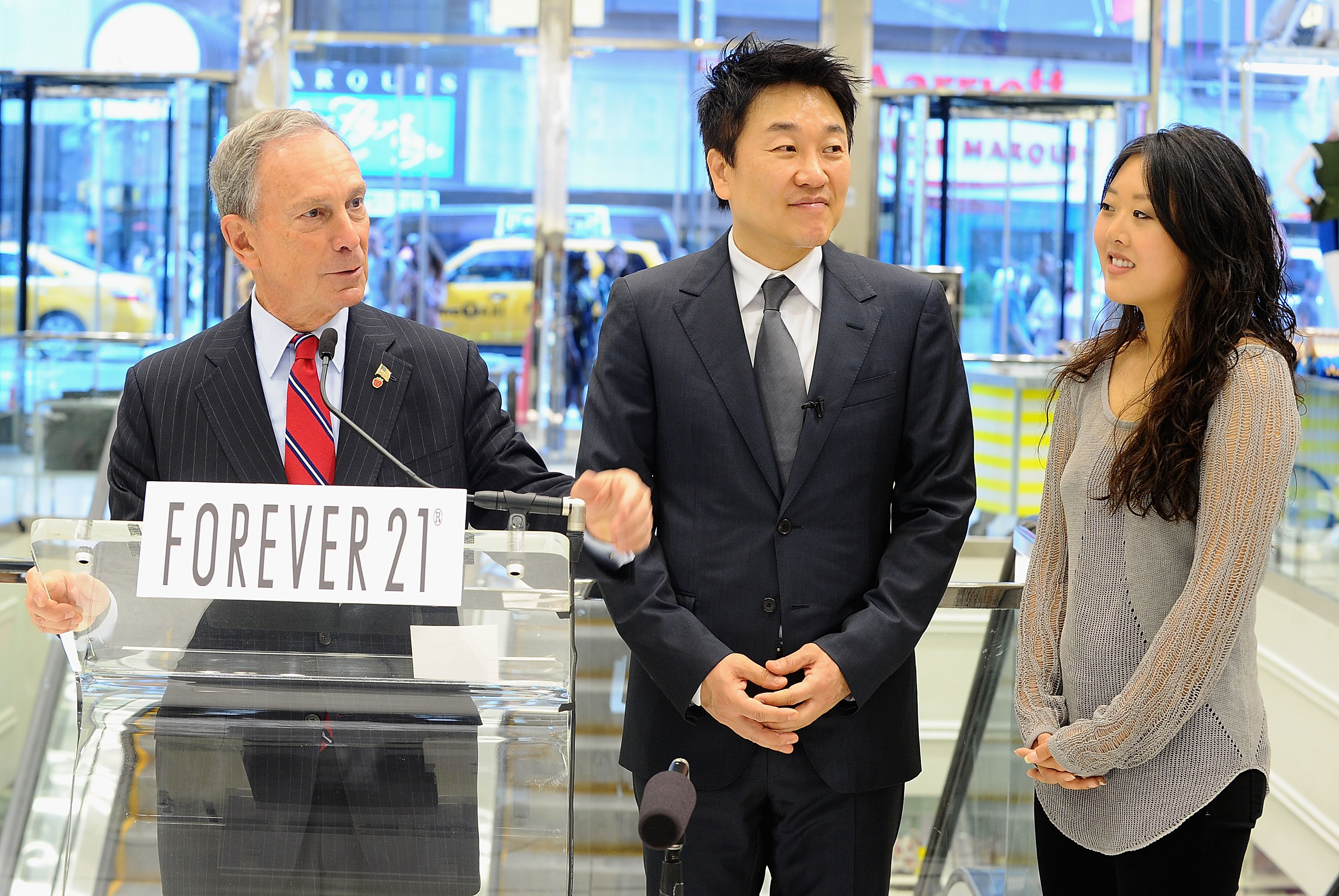 New York City Mayor Michael Bloomberg, Don Chang,CEO of Forever 21 and Linda Chang,senior marketing manager of Forever 21 visit the Forever 21 new Times Square location at Forever 21 Times Square Flagship Store on June 24, 2010 in New York City. (Photo by Jamie McCarthy/Getty Images for Forever 21)