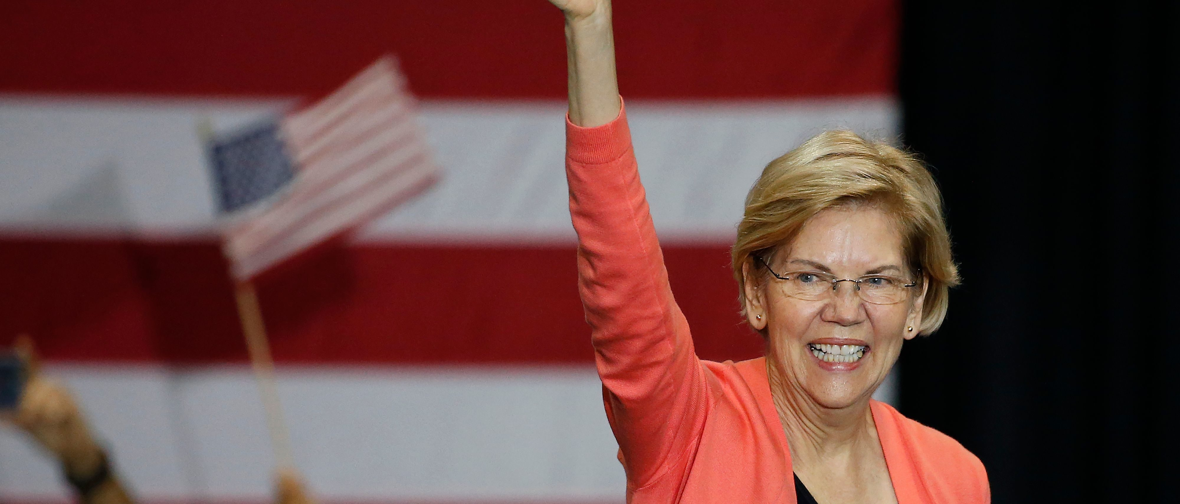 Senator of Massachusetts (D) and Democratic Presidential hopeful Elizabeth Warren gestures as she speaks during a town hall meeting at Florida International University in Miami, Florida on June 25, 2019. (Photo by RHONA WISE / AFP)