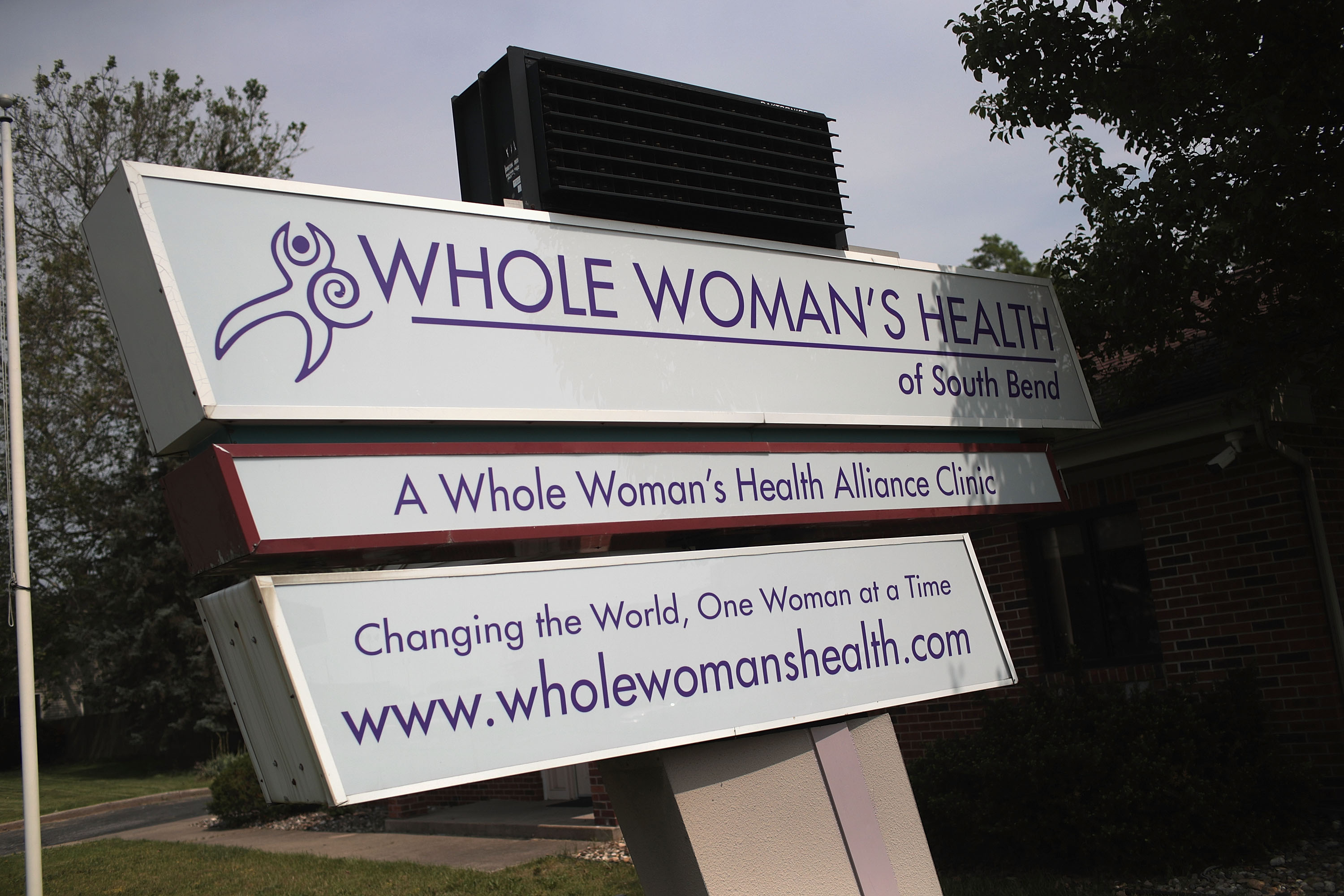 SOUTH BEND, INDIANA - JUNE 19: A sign sits in the front of Whole Woman's Health of South Bend on June 19, 2019 in South Bend, Indiana. The clinic, which provides reproductive healthcare for women including providing abortions is scheduled to open next week following a nearly two-year court battle. Part of the Texas-based nonprofit Whole Woman's Health Alliance, the clinic will offer medication-induced abortions for women who are up to 10 weeks pregnant. (Photo by Scott Olson/Getty Images)