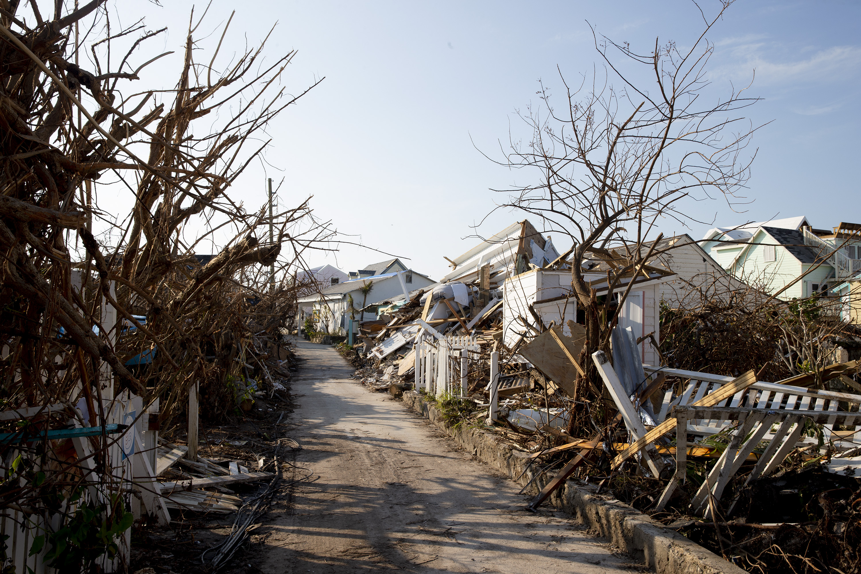 Damages houses are seen in Hurricane Dorian devastated Elbow Key Island on September 7, 2019 in Elbow Key Island, Bahamas. (Jose Jimenez/Getty Images)