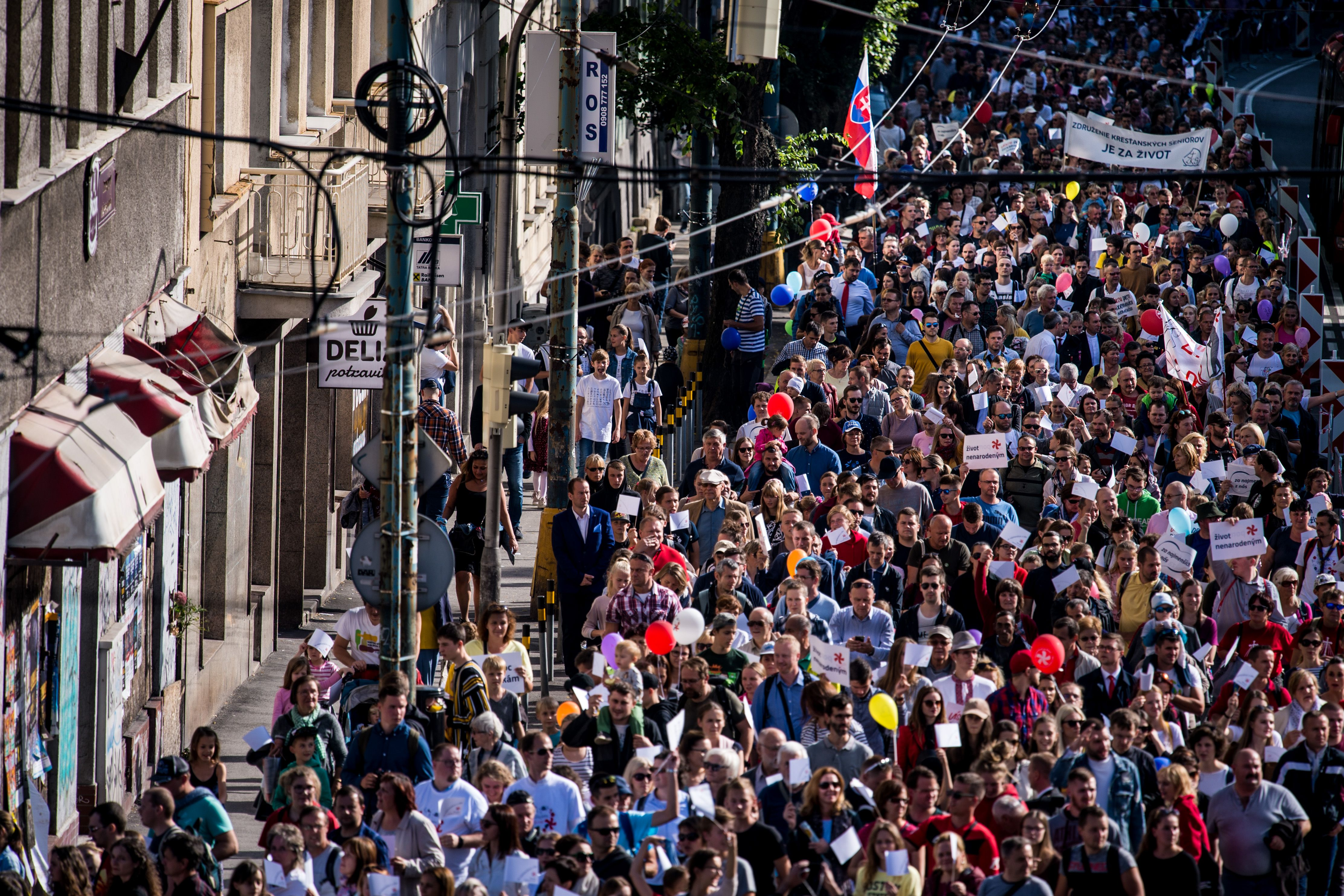 Thousands of participants march during an anti-abortion protest titled