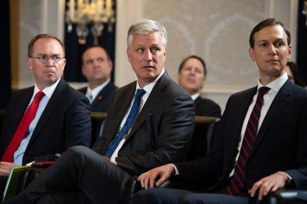 White House Chief of Staff Mick Mulvaney (L), National Security Advisor Robert O'Brien (C) and Senior Adviser Jared Kushner (R) attend a meeting between US President Donald Trump and Pakistani Prime Minister Imran Khan on the sidelines of the UN General Assembly in New York, September 23, 2019. (Photo by SAUL LOEB/AFP/Getty Images)
