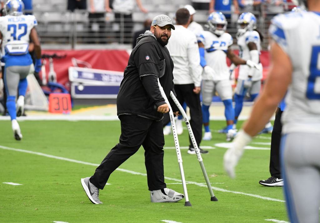 GLENDALE, ARIZONA - SEPTEMBER 08: Head coach Matt Patricia of the Detroit Lions watches pregame warm ups prior to a game against the Arizona Cardinals at State Farm Stadium on September 08, 2019 in Glendale, Arizona. (Photo by Norm Hall/Getty Images)