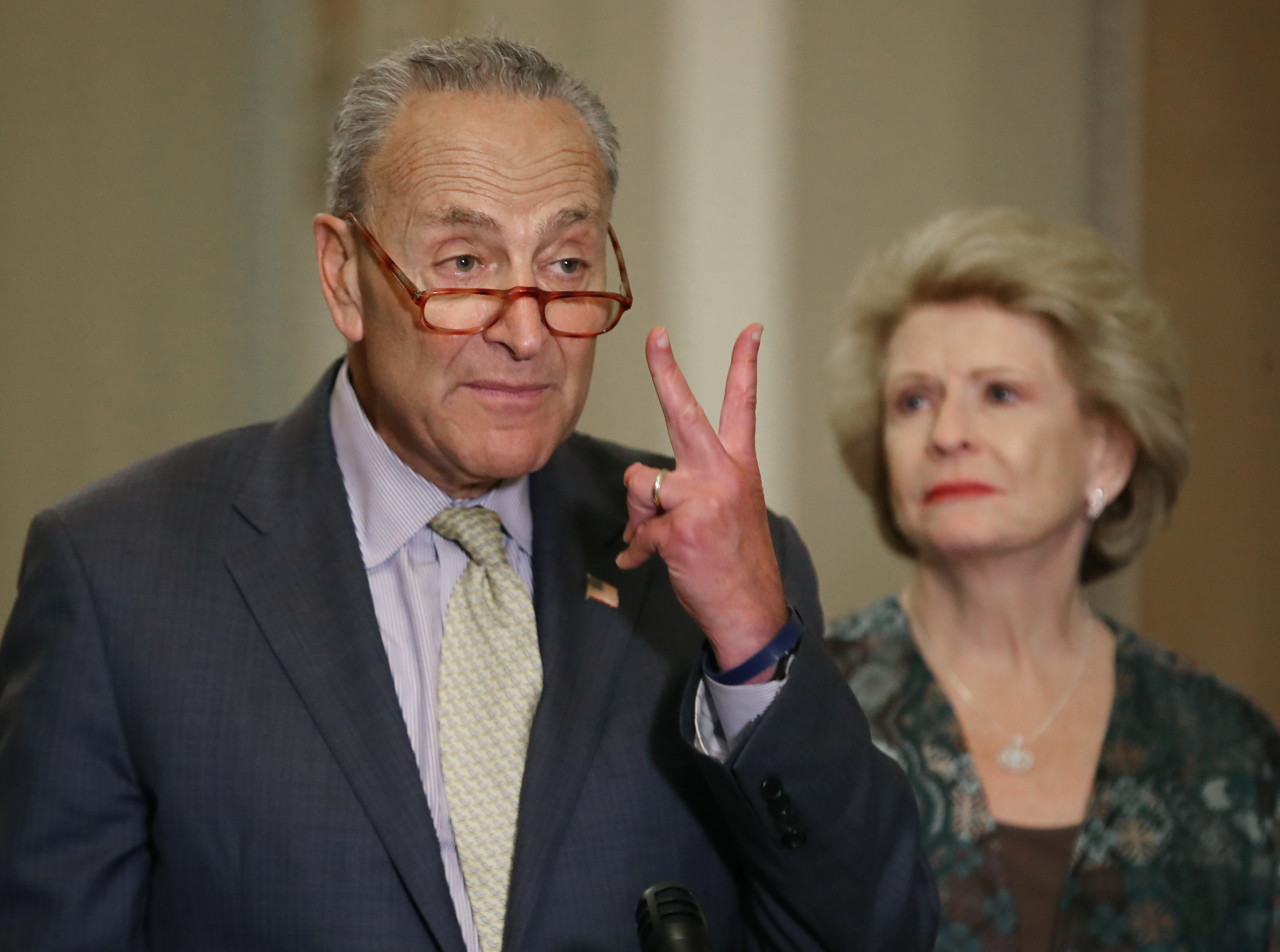 WASHINGTON, DC - SEPTEMBER 17: Senate Minority Leader Charles Schumer (D-NY) while flanked by Sen. Debbie Stabenow (D-MI) after attending the Democratic weekly policy luncheon on Capitol Hill September 17, 2019 in Washington, DC. Leader Schumer spoke about gun legislation that has stalled in the Senate. (Photo by Mark Wilson/Getty Images)