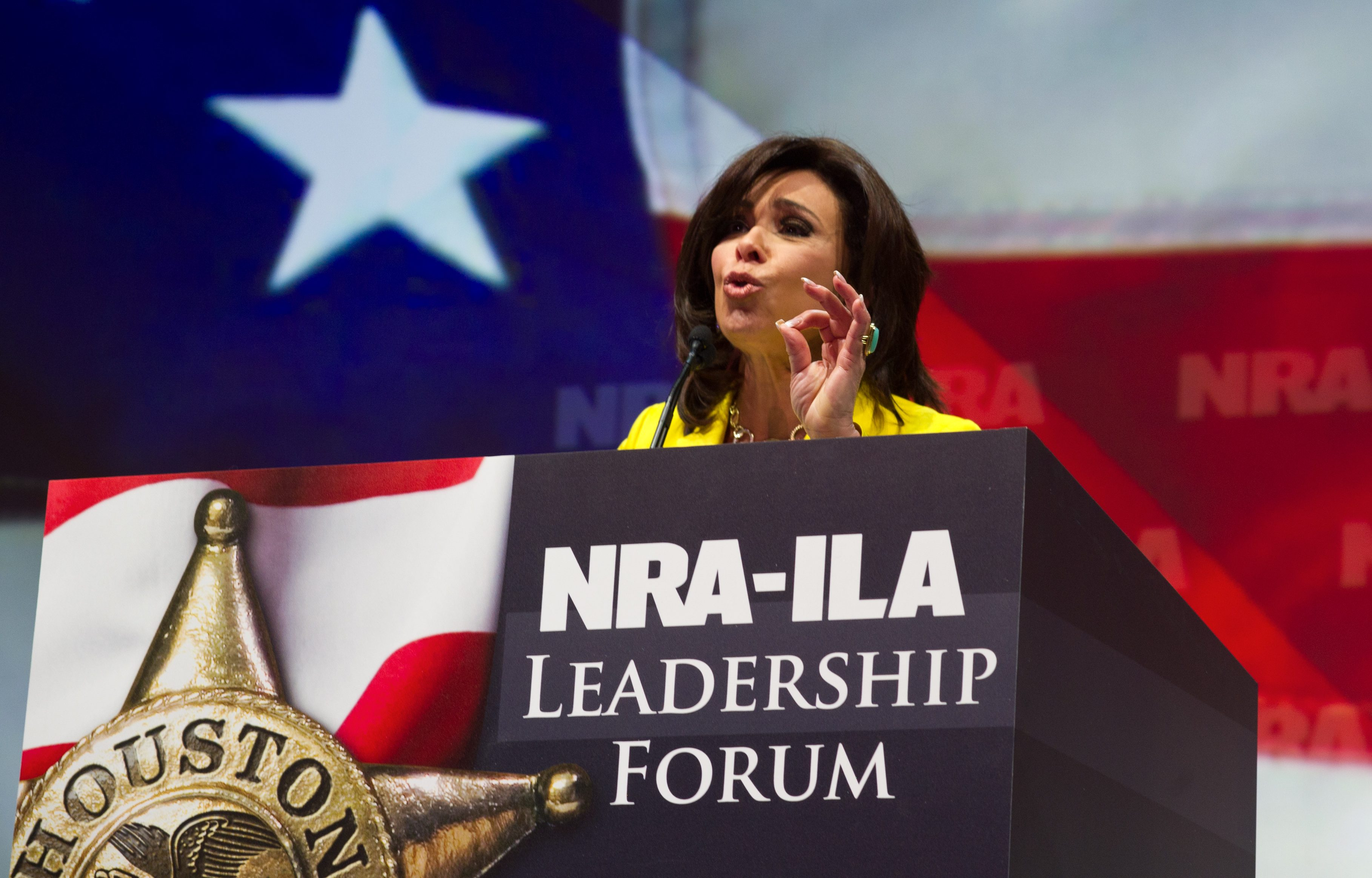 """Judge Jeanine Pirro, host of the television program """"Justice with Judge Jeanine,"""" addresses the NRA annual Convention May 3, 2013 in Houston, Texas. (KAREN BLEIER/AFP/Getty Images)"""