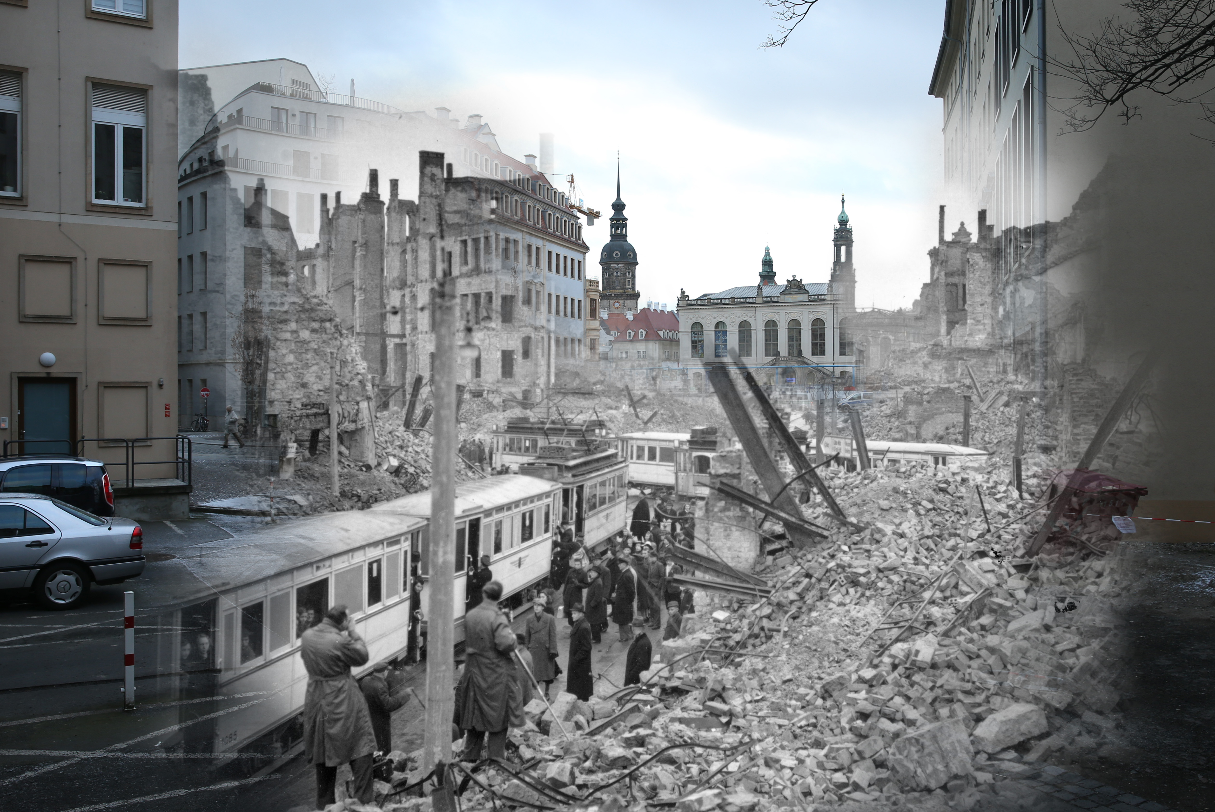 COMPOSITE: This digital composite image shows Moritzstrasse and the Juedenhof palace in 1946 still wrecked from the Allied firebombing of February 13, 1945 (Fred Ramage, Keystone) as well as the same area today on February 7, 2015 (Sean Gallup). *** ARCHIVE *** #3348955 DRESDEN, GERMANY - MARCH 13, 1946: People getting on trams in the midst of the ruins left by an Allied air raid on Johannstrasse, Dresden, in the Soviet zone of Germany after the Second World War. (Photo by Fred Ramage/Keystone Features/Getty Images) ***MODERN DAY*** DRESDEN, GERMANY - FEBRUARY 7: This view shows Moritzgasse, which before World War II was called Moritzstrasse, was located near Johannstrasse and had a tram line, leading towards the former Juedenhof palace, which today is a transportation museum, on February 7, 2015 in Dresden, Germany. The entire area, as well as the vast majority of the city, were devastated by the Allied firebombing of February 13-14, 1945. The city of Dresden will commemorate the 70th anniversary of the attacks on February 13. (Photo by Sean Gallup/Getty Images)