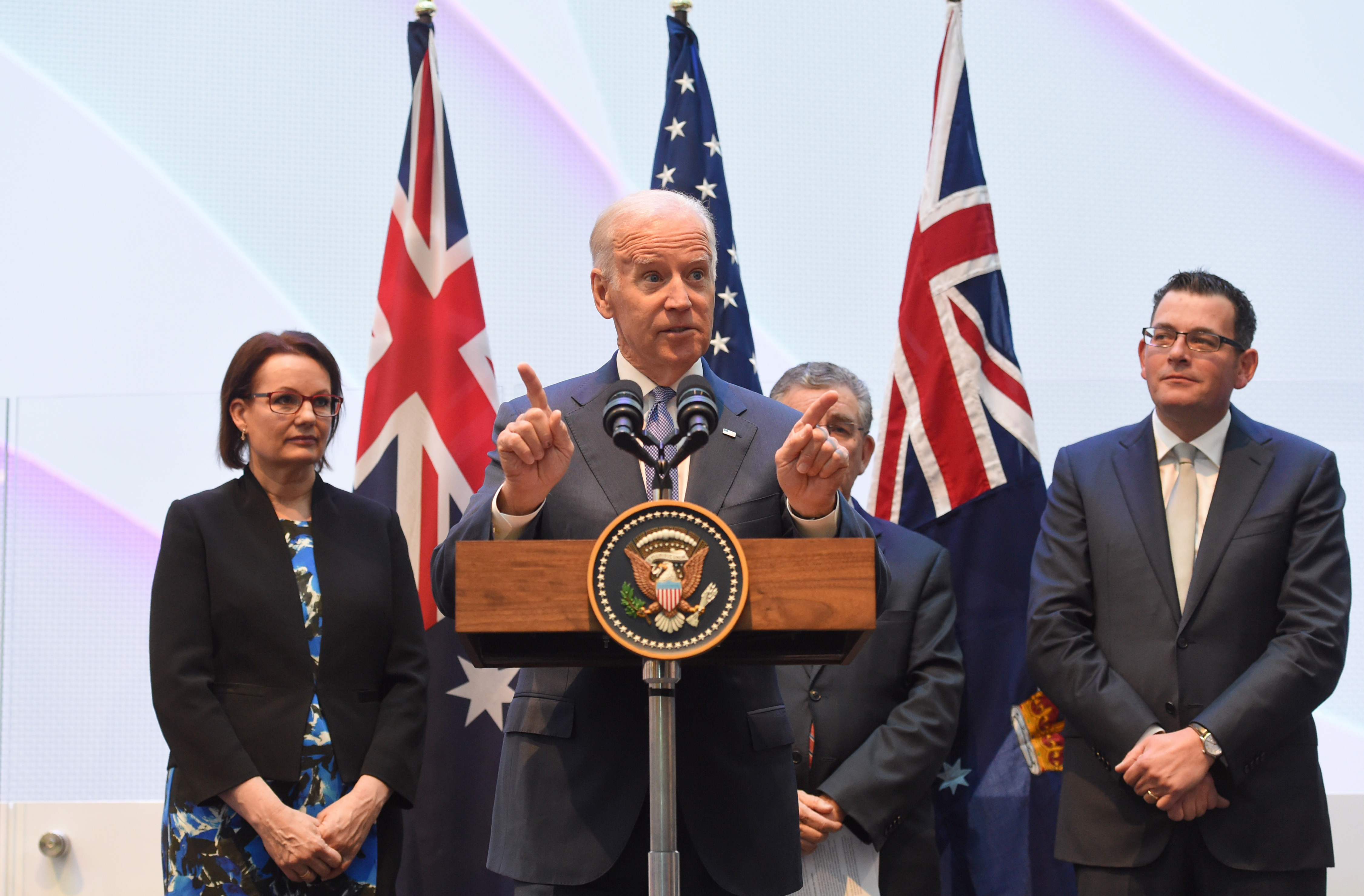 MELBOURNE, AUSTRALIA - JULY 17: US Vice-President Joe Biden (C) speaks to guests with Victorian Premier Daniel Andrews (R), Health Minister Susan Ley (L) and Professor Jim Bishop (2nd R) after a tour of the Victorian Comprehensive Cancer Centre on July 17, 2016 in Melbourne, Australia. Biden is visiting Australia on a four day trip which includes a visit to Melbourne at the Victorian Comprehensive Cancer Centre to promote US-Australia cancer research and will host a round-table discussion with business leaders in Sydney. (Photo by Tracey Nearmy - Pool/Getty Images)