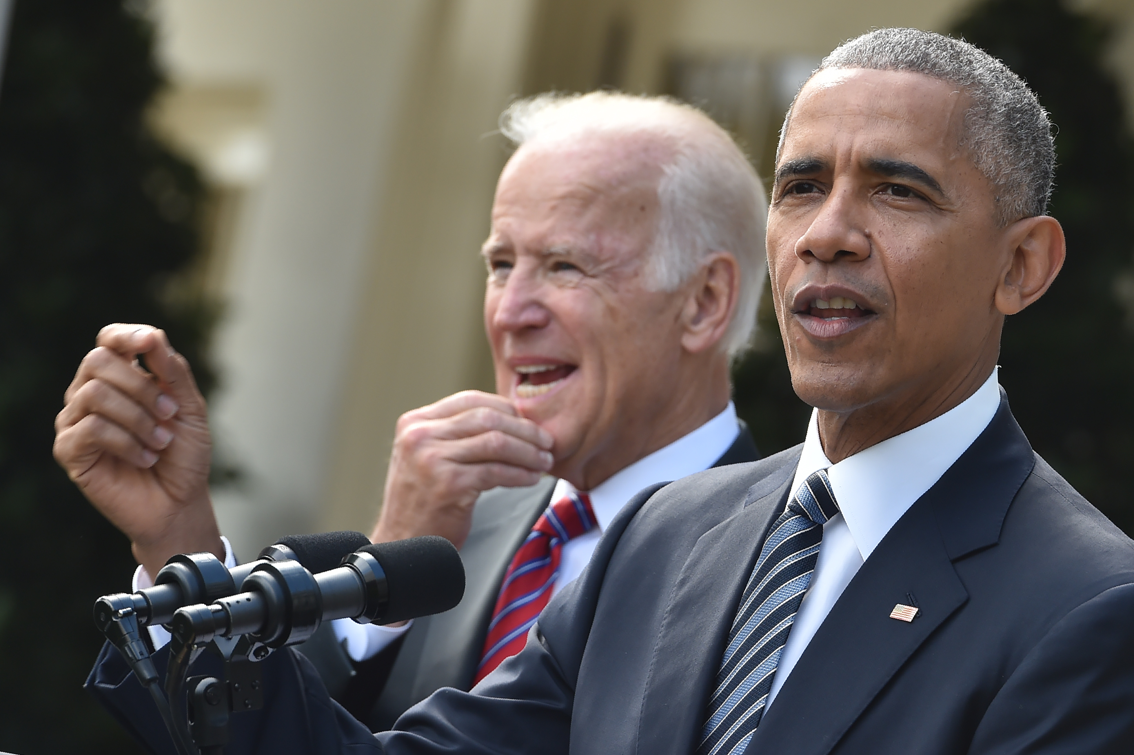 US President Barack Obama (R) together with Vice President Joe Biden addresses the nation publicly for the first time publicly since the shock election of Donald Trump as his successor, on November 9, 2016 at the White House in Washnigton, D.C. Throughout the two-year-long election campaign, Obama has repeated a mantra that he will do all he can to ensure the peaceful transition of power. / AFP / Nicholas Kamm (Photo credit should read NICHOLAS KAMM/AFP/Getty Images)