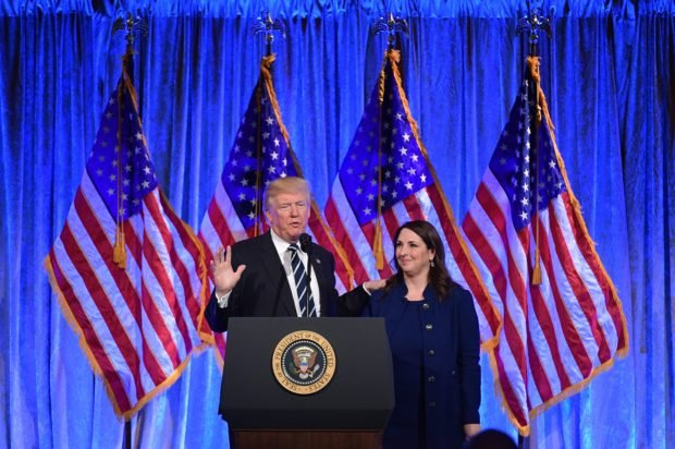 US President Donald Trump speaks after his introduction by RNC Chairwoman Ronna Romney McDaniel at a fundraising breakfast in a restaurant in New York, New York on December 2, 2017. (MANDEL NGAN/AFP/Getty Images)