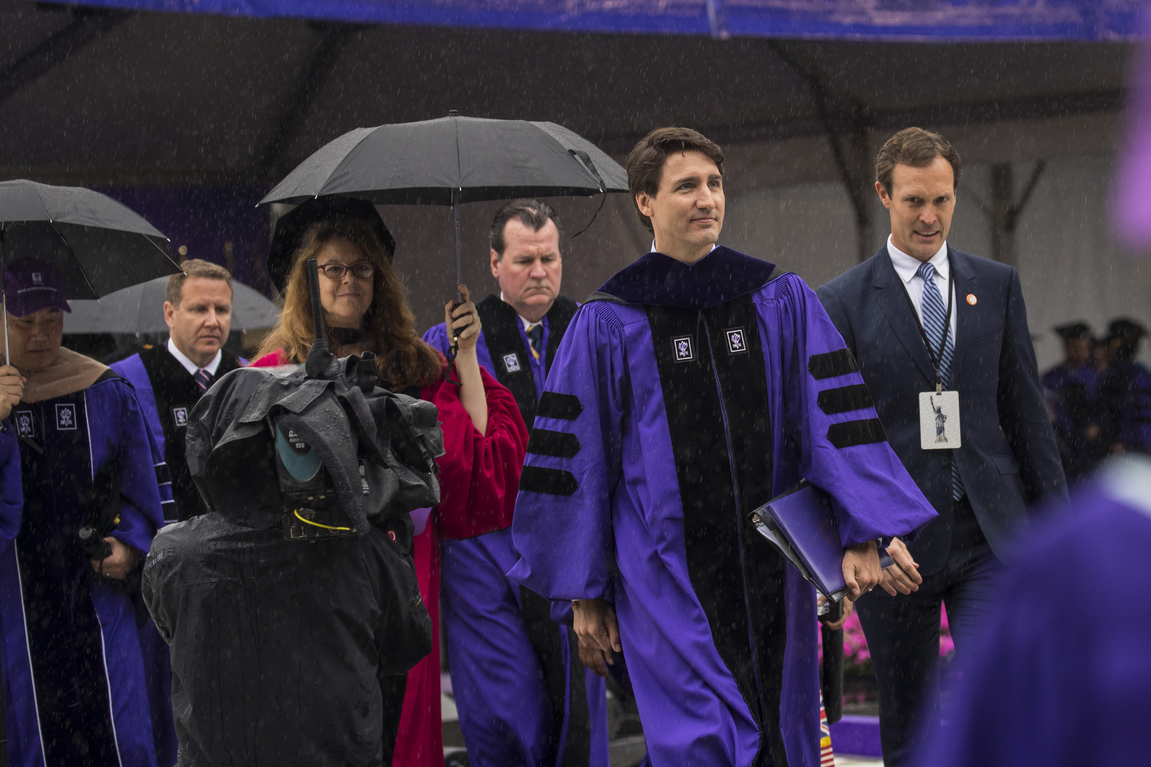 Canadian Prime Minister Justin Trudeau exits New York University's commencement ceremony at Yankee Stadium, May 16, 2018 in the Bronx borough of New York City. Drew Angerer/Getty Images