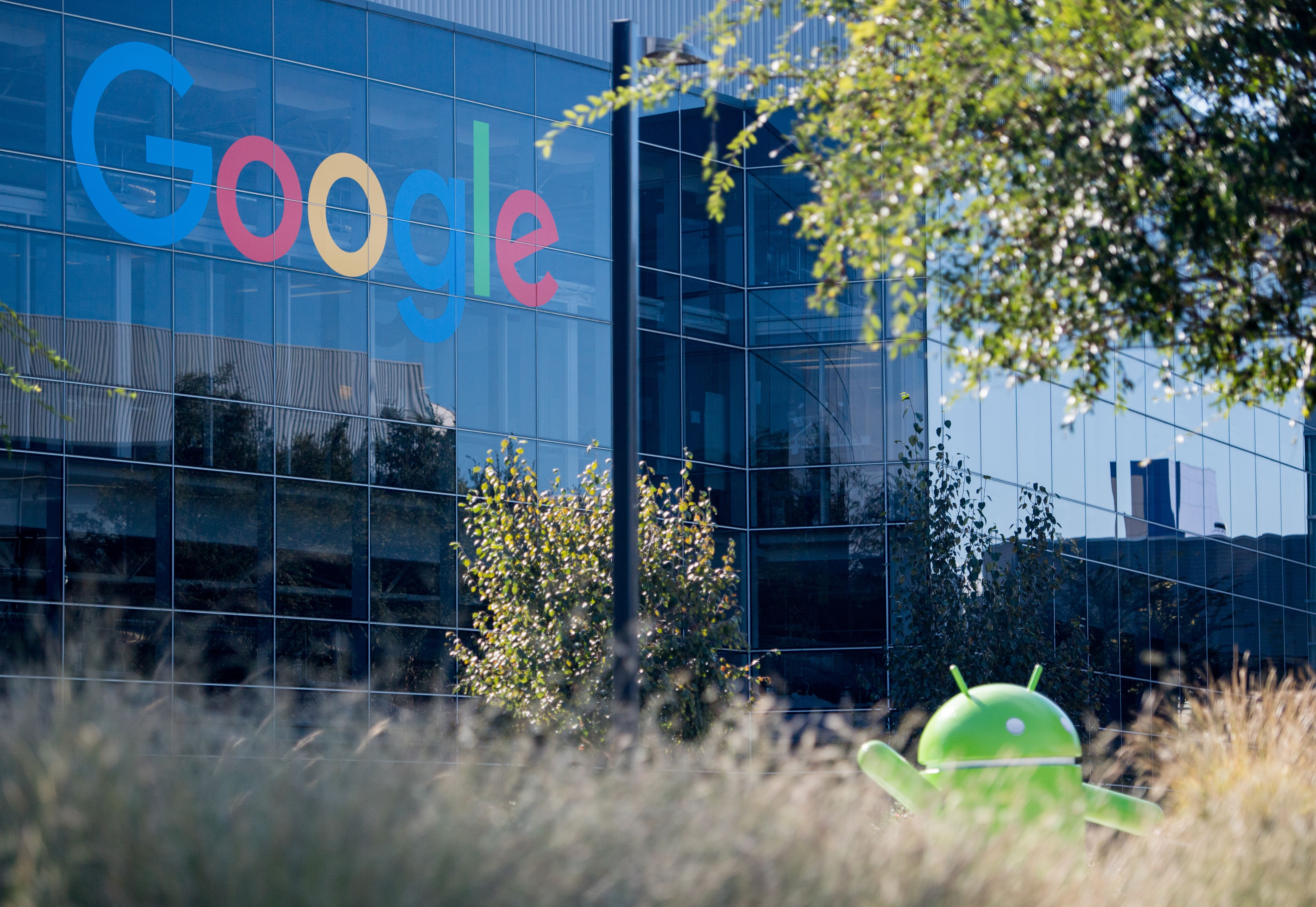 A Google logo and Android statue at the Googleplex in Menlo Park, California on November 4, 2016. (Josh Edelson/AFP/Getty Images)