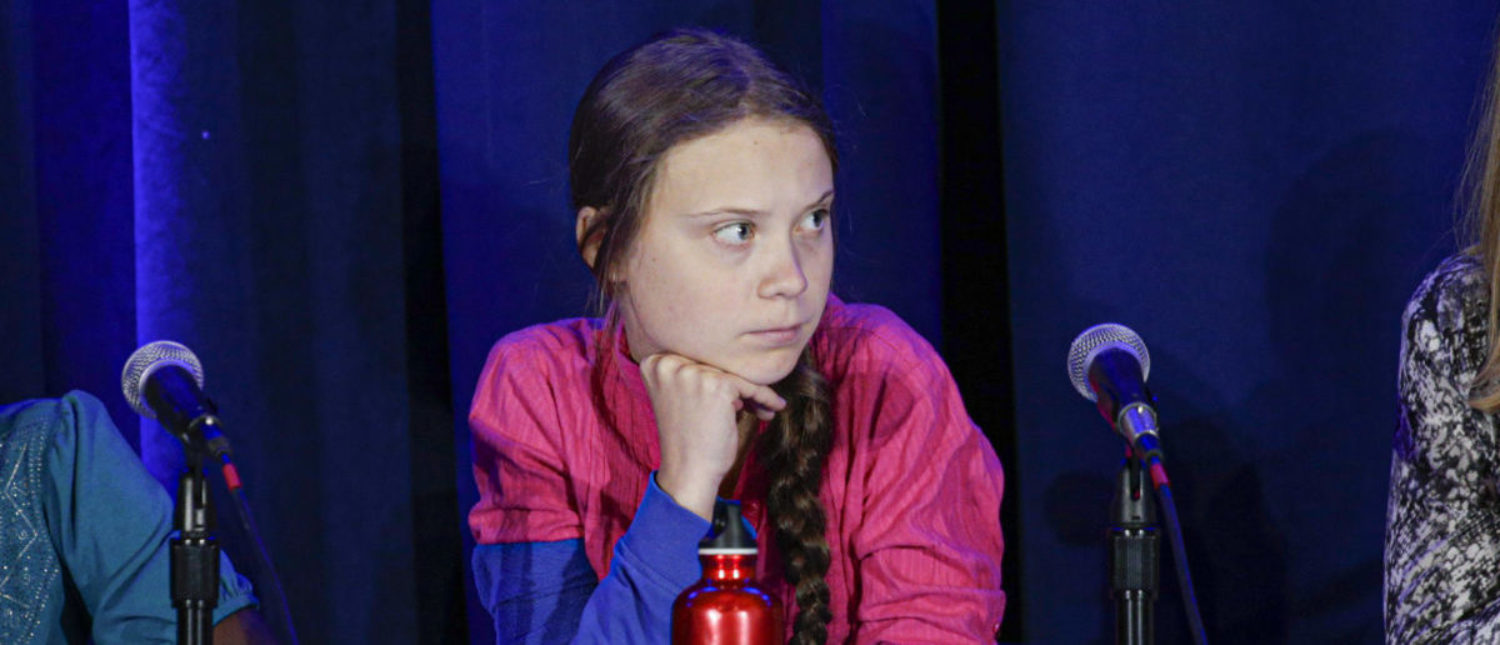 TOPSHOT - Activist Greta Thunberg attends a press conference where 16 children from across the world, present their official human rights complaint on the climate crisis to the United Nations Committee on the Rights of the Child at the UNICEF Building on September 23, 2019 in New York City. (Photo by Kena Betancur / AFP) (Photo credit should read KENA BETANCUR/AFP/Getty Images)