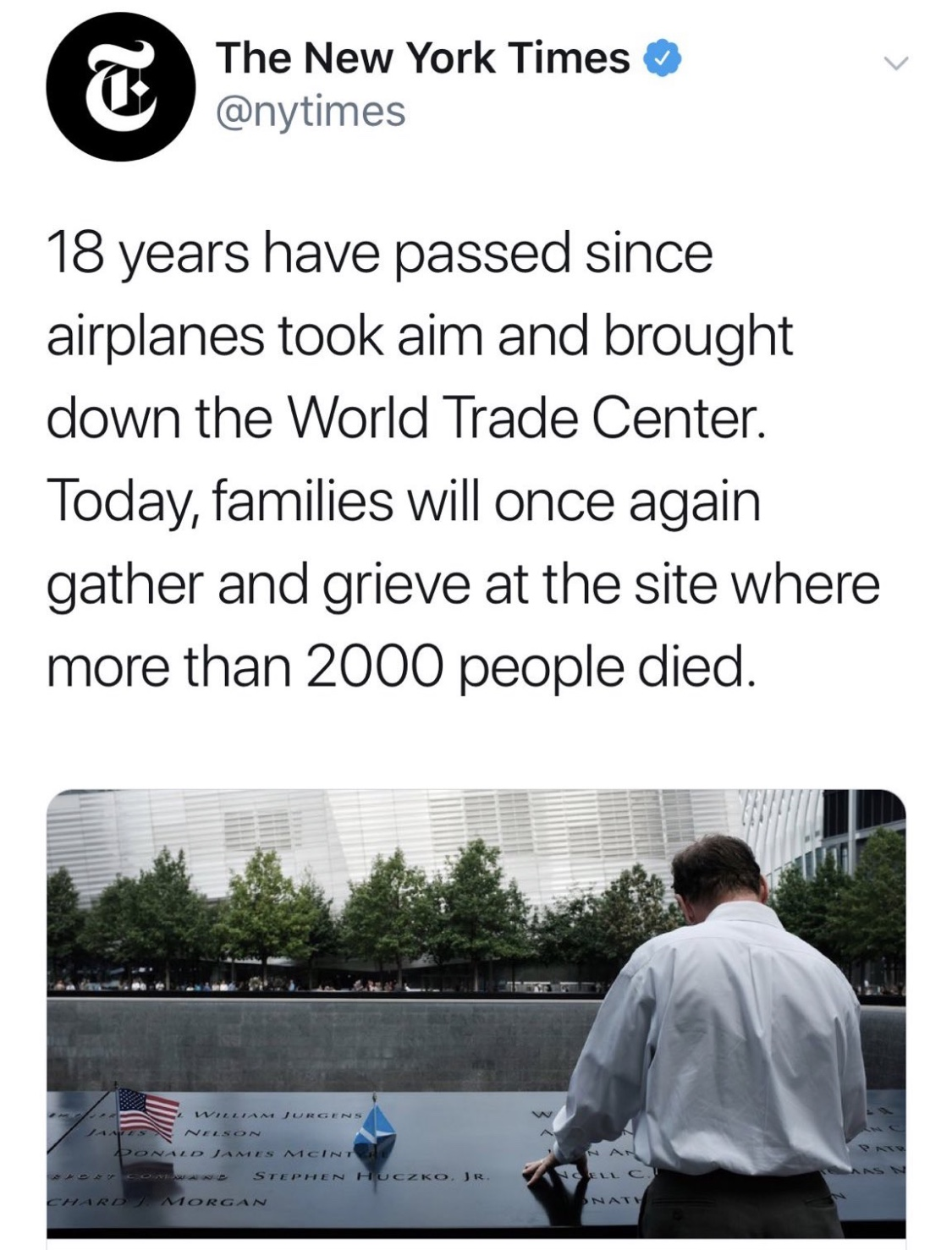 "The NYT first tweeted out a 9/11 story and wrote that ""airplanes took aim"" at the World Trade Center 18 years ago. (Screenshot Twitter, The New York Times)"