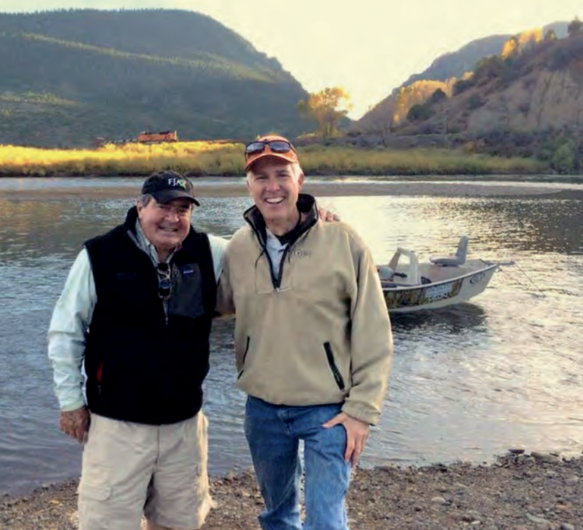 Justices Antonin Scalia and Neil Gorsuch on a fishing trip in 2014. (Via Crown Forum)