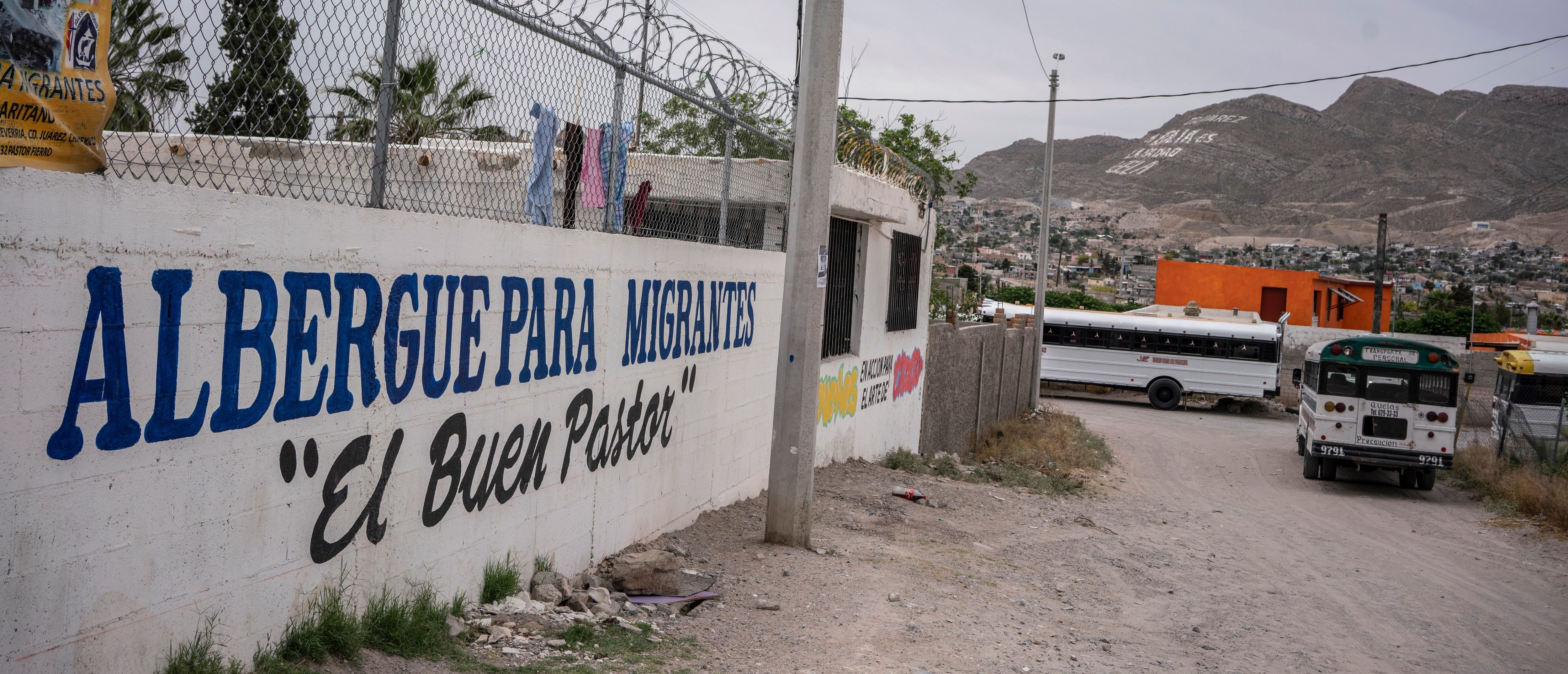 "The exterior of Iglesia Metodista ""El Buen Pastor"", a church run shelter for migrants, is pictured in Ciudad Juarez, Chihuahua State, on May 20, 2019. - About 7,000 migrants are waiting to enter the United States via El Paso, either by the metered number system, or those which are part of the remain in Mexico policy, Migrant Protection Protocols. Those that are part of MPP are made to wait out their asylum claims on the Mexican side of the Border, where they are vulnerable to criminals looking for an easy target, extortionists, corrupt police, among other dangers. (Photo by Paul Ratje / AFP) (Photo credit should read PAUL RATJE/AFP/Getty Images)"