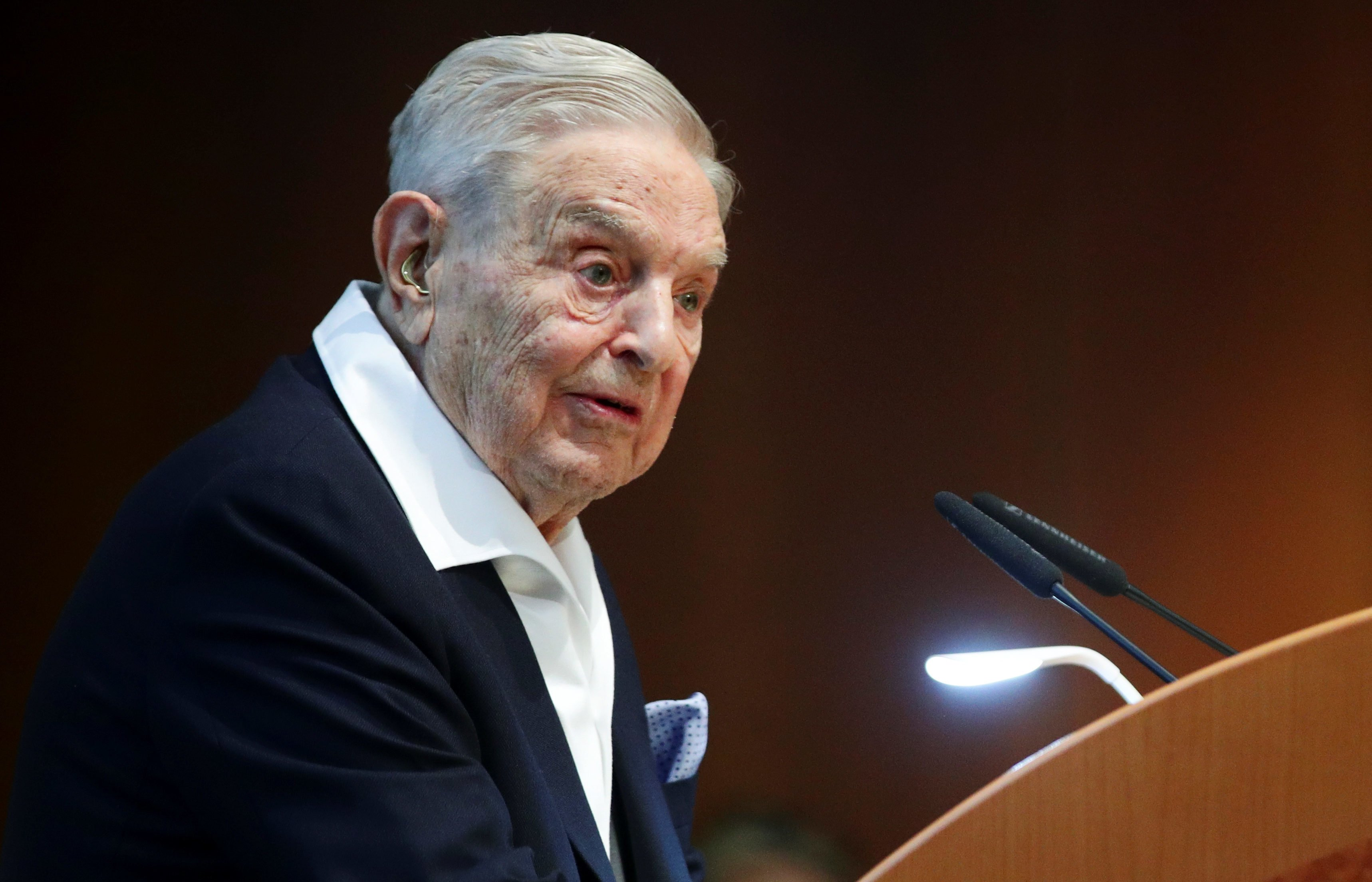 Billionaire investor George Soros speaks to the audience at the Schumpeter Award in Vienna, Austria June 21, 2019. REUTERS/Lisi Niesner - RC1C86FE78A0