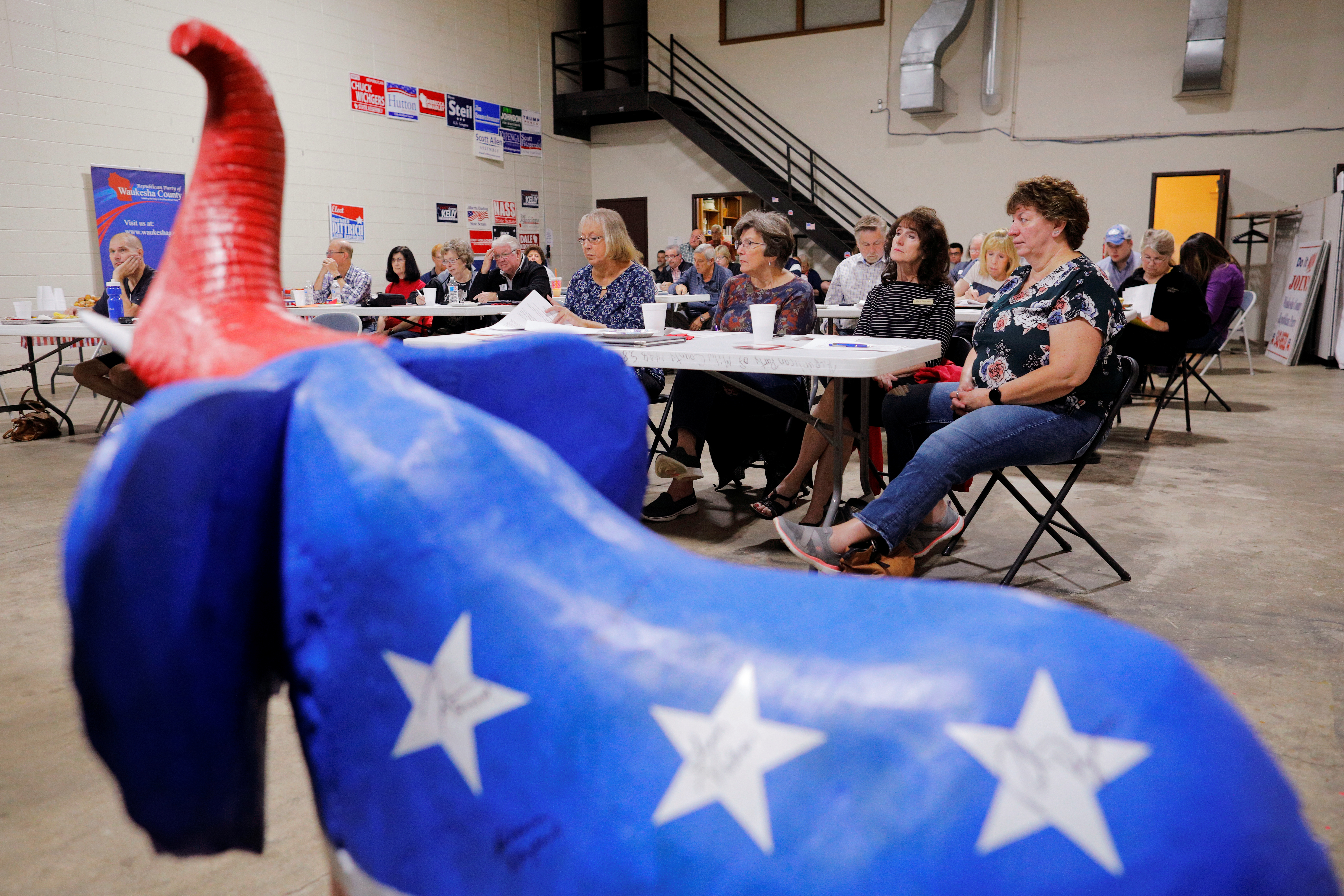 Local Republican Party officials and volunteers gather for a leadership training session in Waukesha, Wisconsin, U.S., September 7, 2019. Picture taken September 7, 2019.