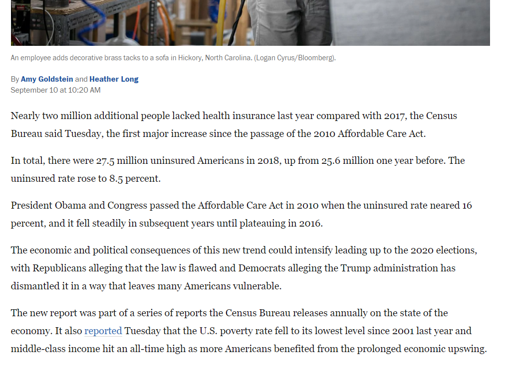 WaPo revised its article to turn the focus on the high number of uninsured people in 2018. (Screenshot Washington Post)