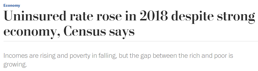 The first photo shows WaPo's original headline, which mentioned the record-low poverty numbers. The second photo shows WaPo's revised headline. (Screenshot Washington Post)