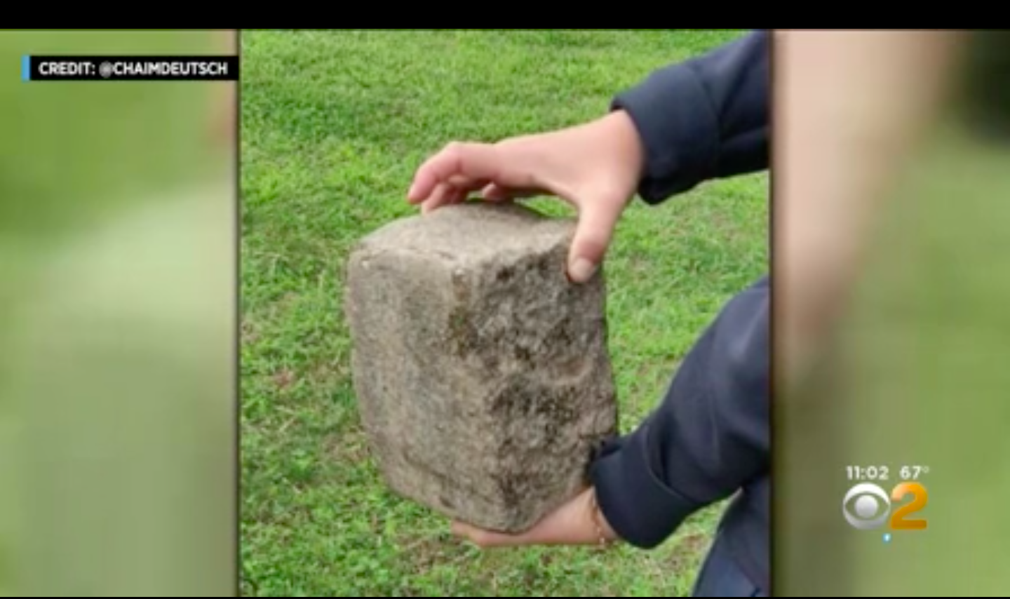 Stone used to attack Gopin/CBS2 screengrab