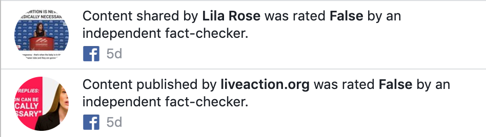Push notification sent to Live Action and Lila Rose followers. Photo courtesy of Live Action.