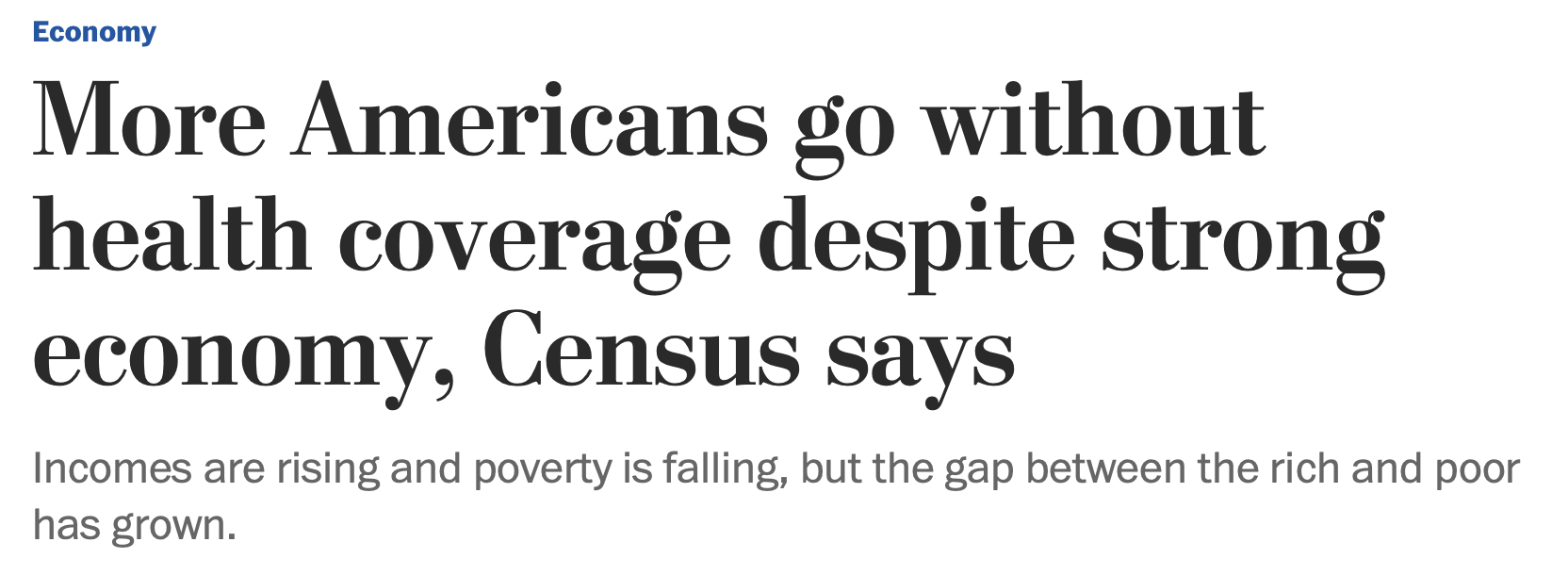 The first photo shows WaPo's original headline, which mentioned the record-low poverty numbers. The second photo shows WaPo's revised headline, and the third shows another edited headline. (Screenshot Washington Post)