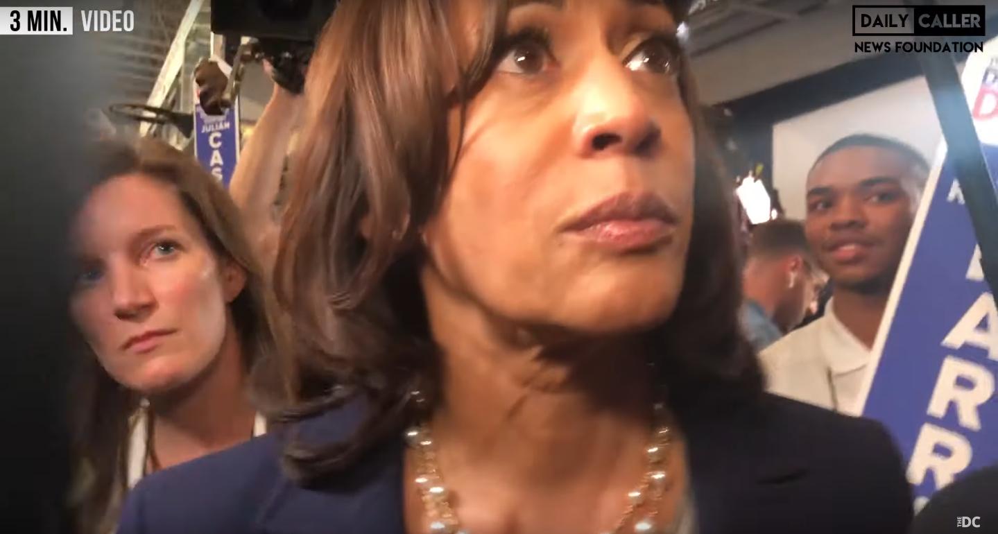 Sen. Kamala Harris taking questions after the ABC debate. Screenshot/DCNF