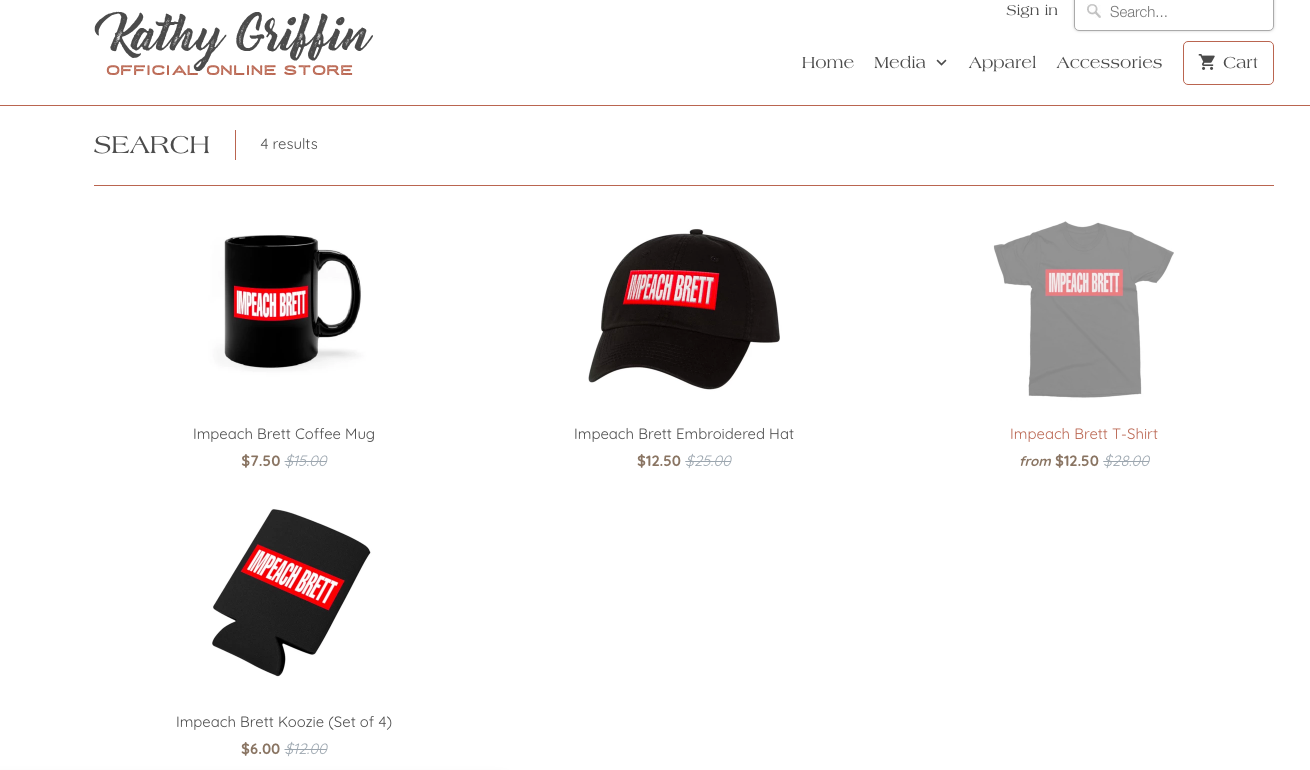 "Kathy Griffin ""IMPEACH BRETT"" merchandise/Griffin's website screengrab"