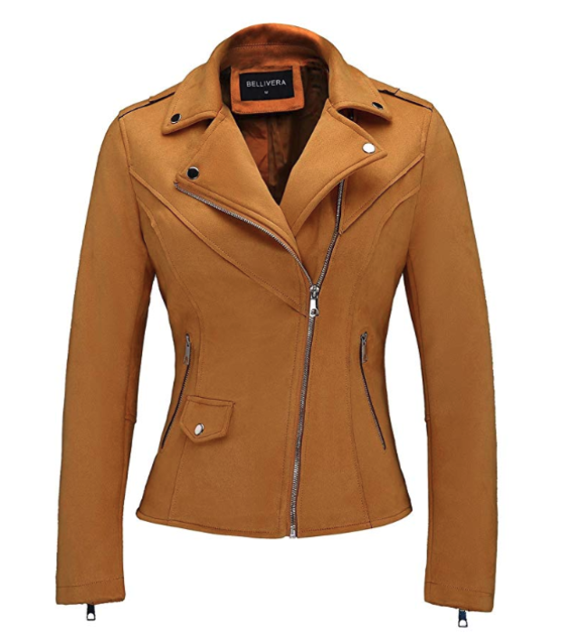 The Bellivera Faux Suede Jacket is available with free Prime shipping and returns for a limited time (Photo via Amazon)