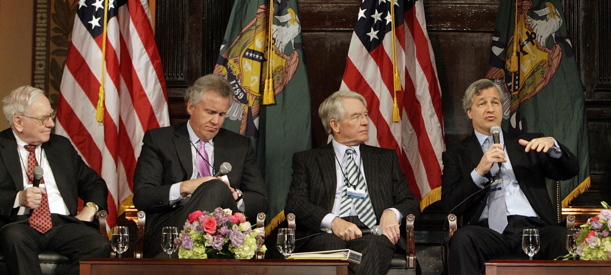 Warren Buffett, Jeffrey Immelt, Charles Schwab and Jamie Dimon, at Georgetown University. Chip Somodevilla/Getty Images.