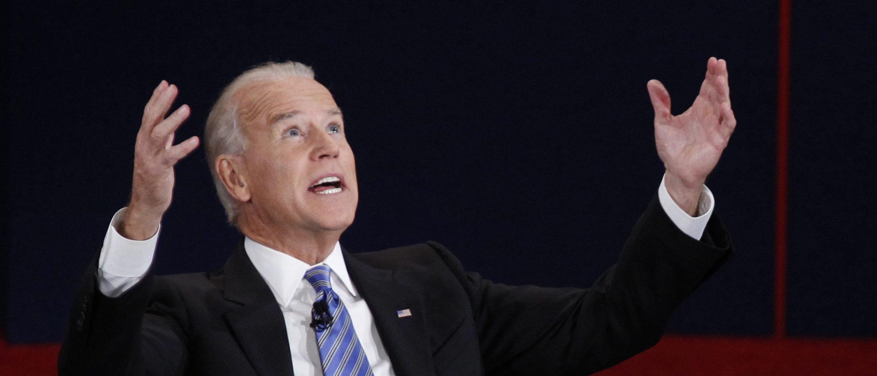 U.S. Vice President Joe Biden (L) makes a point in front of Republican vice presidential nominee Paul Ryan. REUTERS/Jeff Haynes