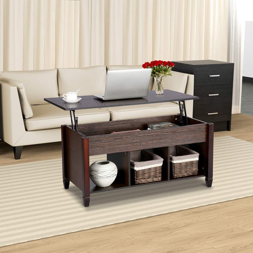 Multi-functional Yaheetech Lift Top Coffee Table with spacious storage drawers. Bring it home for only $101.99! -Photo via Amazon