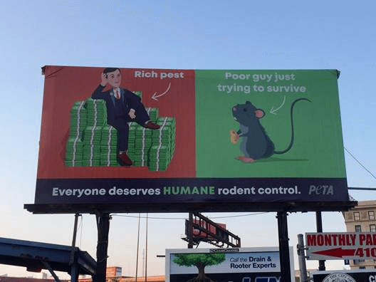 PETA raised this billboard over Baltimore in support of rodent rights. (PETA/Press Release)