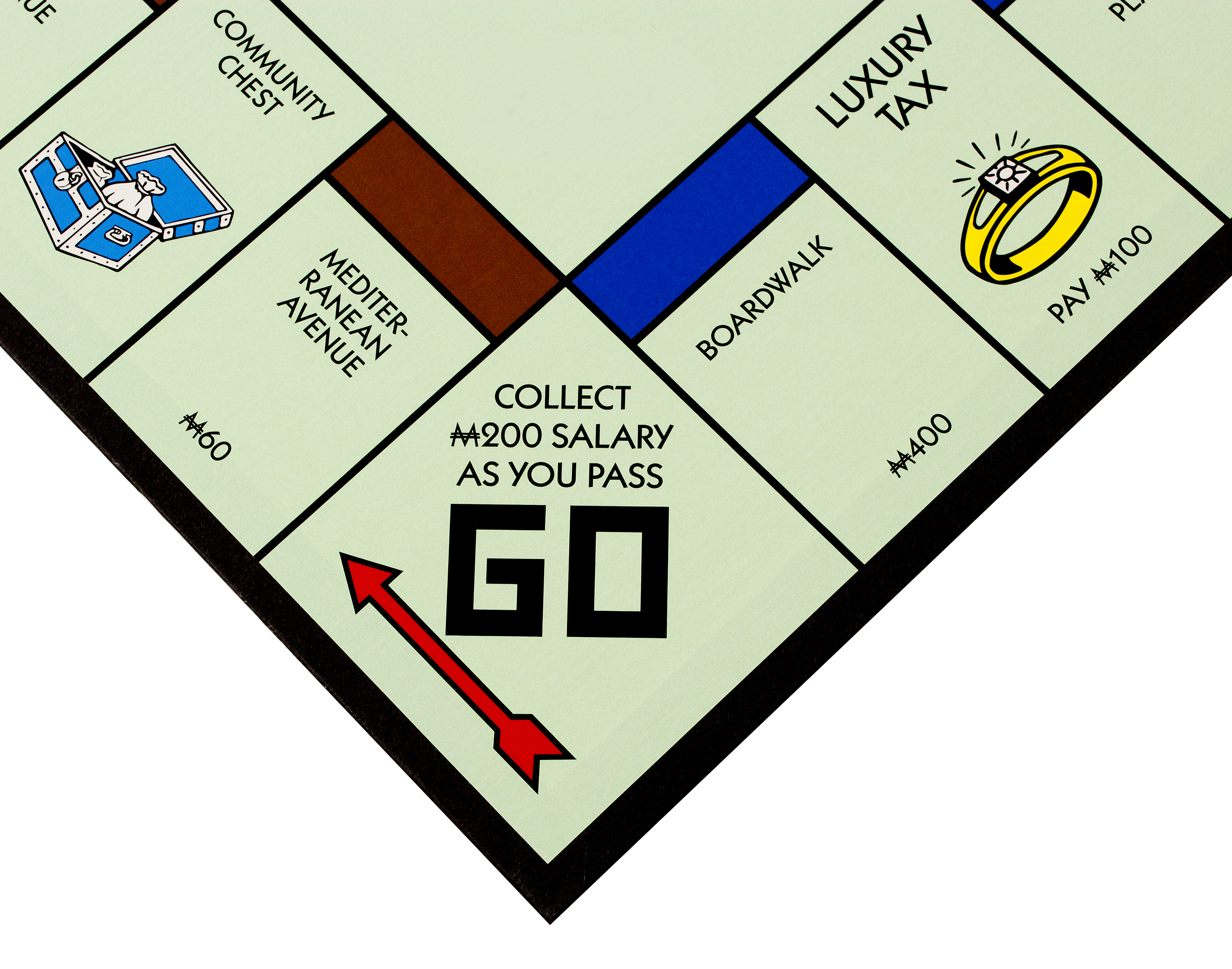 RIVER FALLS,WISCONSIN-NOVEMBER 17,2015: A Monopoly board featuring the Go square. Monopoly originated in the United States in Nineteen Hundred and Three