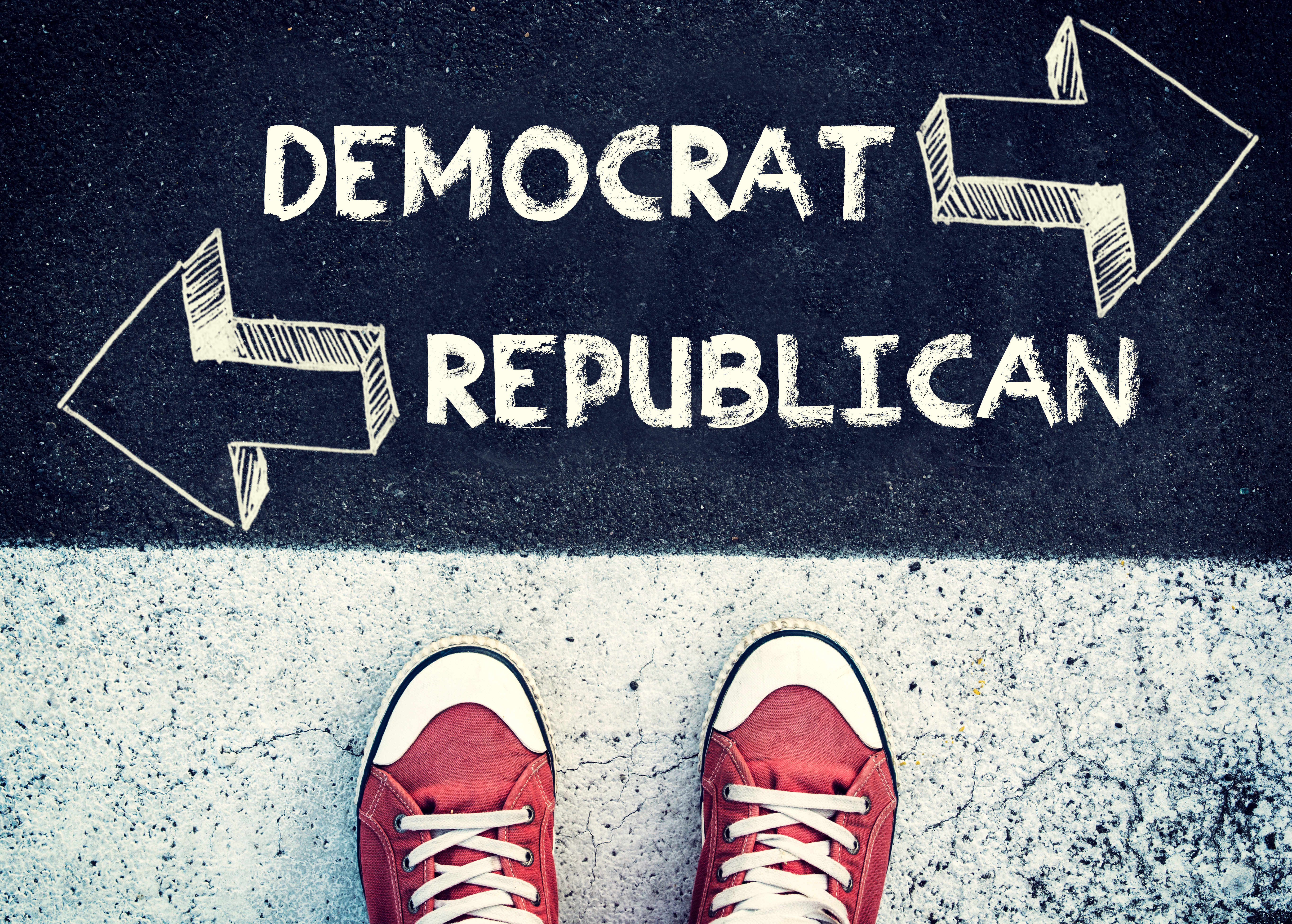 Student standing above the sign democrat and republican - Image