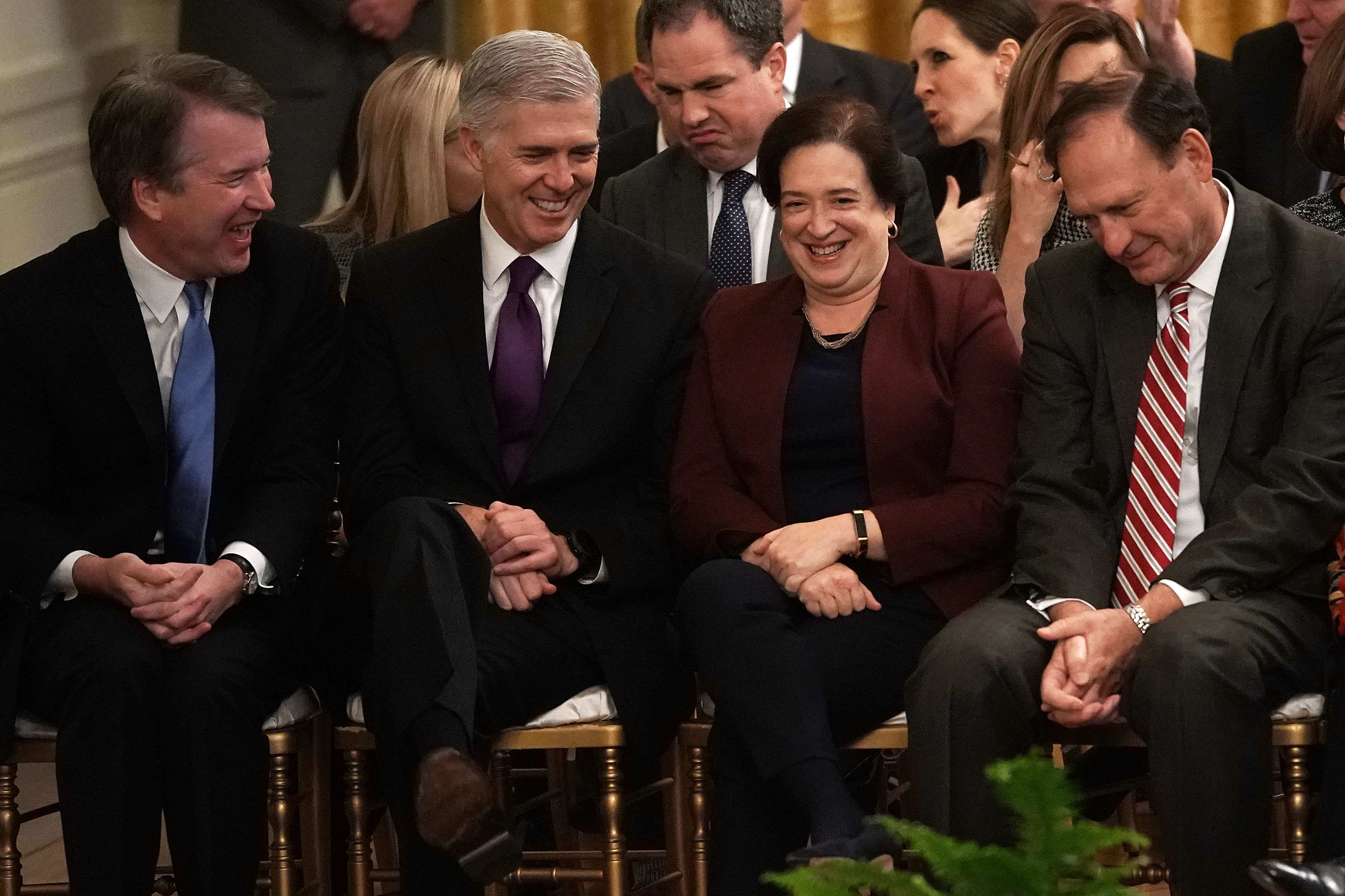 (L-R) Justices Brett Kavanaugh, Neil Gorsuch, Elena Kagan, and Samuel Alito at the White House on November 16, 2018. (Alex Wong/Getty Images)