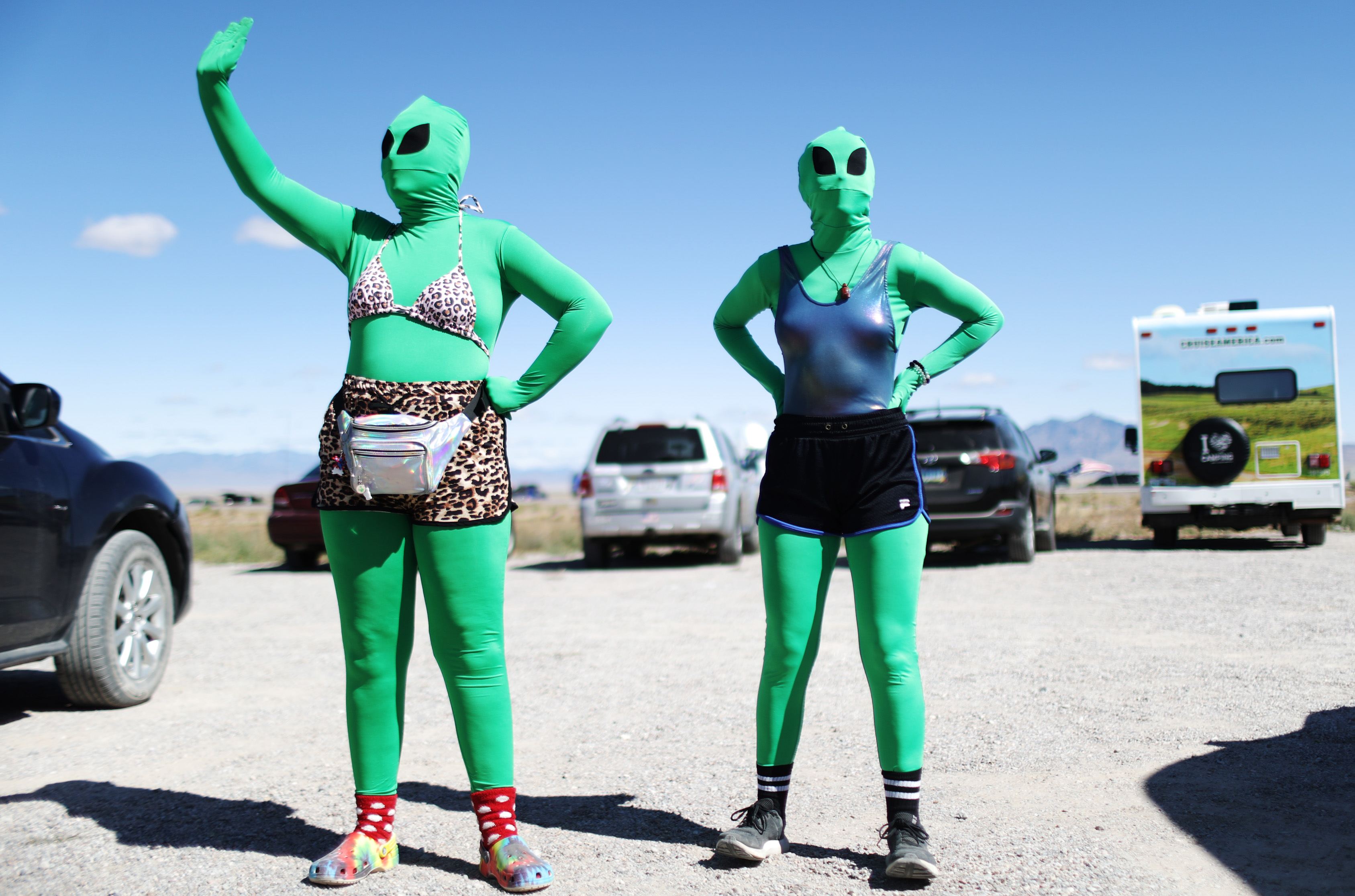 RACHEL, NEVADA - SEPTEMBER 20: Women are dressed as aliens at a 'Storm Area 51' spinoff event called 'Alienstock' on September 20, 2019 in Rachel, Nevada. (Photo by Mario Tama/Getty Images)