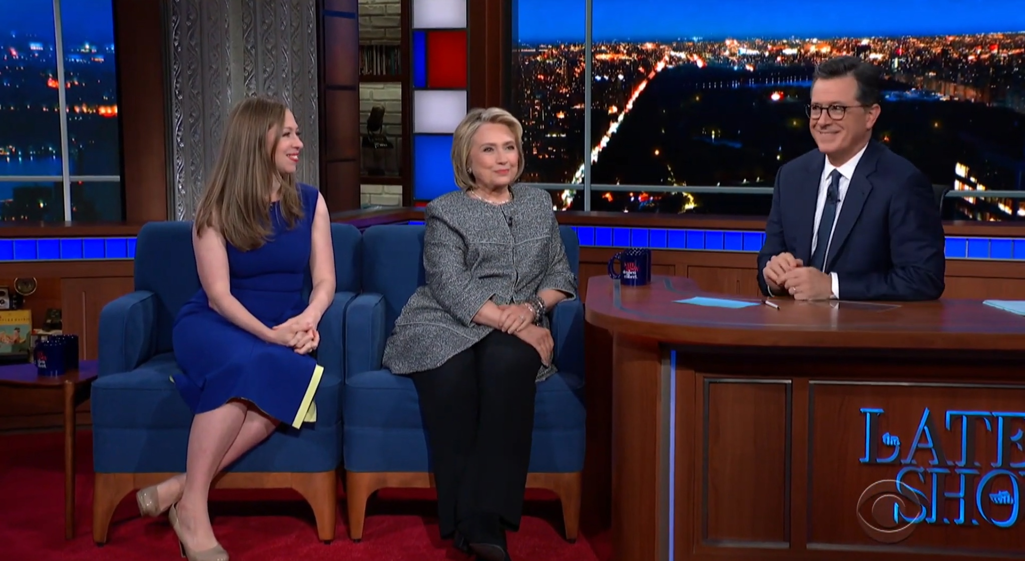 """Hillary Clinton and Chelsea Clinton make an appearance on """"The Late Show with Stephen Colbert,"""" Sept. 30, 2019. YouTube screenshot"""