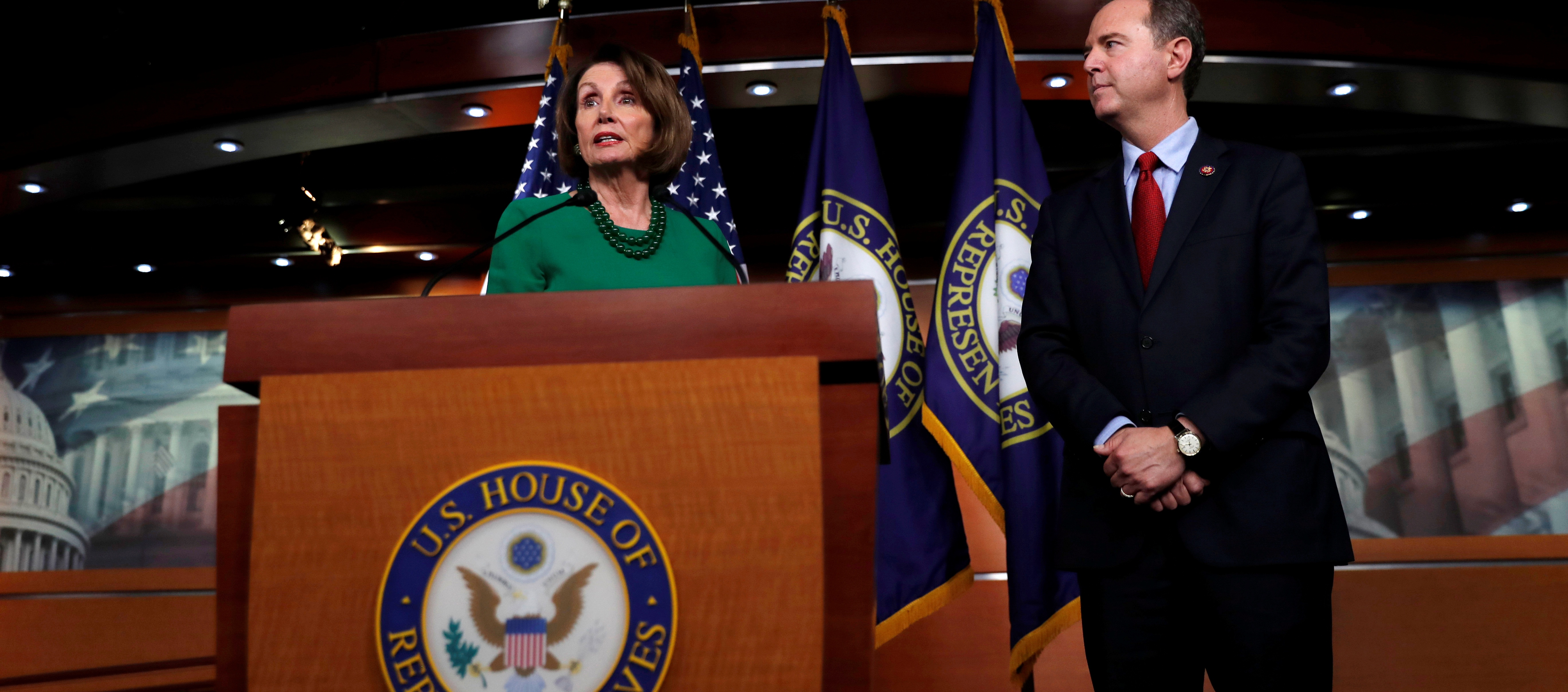 U.S. House Speaker Nancy Pelosi speaks next to House Intelligence Committee Chairman Adam Schiff regarding the impeachment inquiry of U.S. President Donald Trump on Capitol Hill in Washington, U.S., October 15, 2019. REUTERS/Carlos Jasso