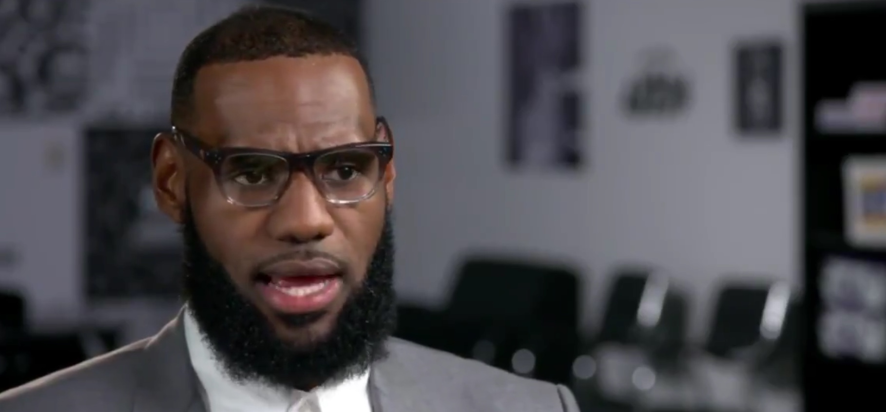 """NBA star LeBron James discusses how his celebrity status allows him to be """"a voice"""" for the dispossessed, July 30, 2019. Twitter screenshot"""