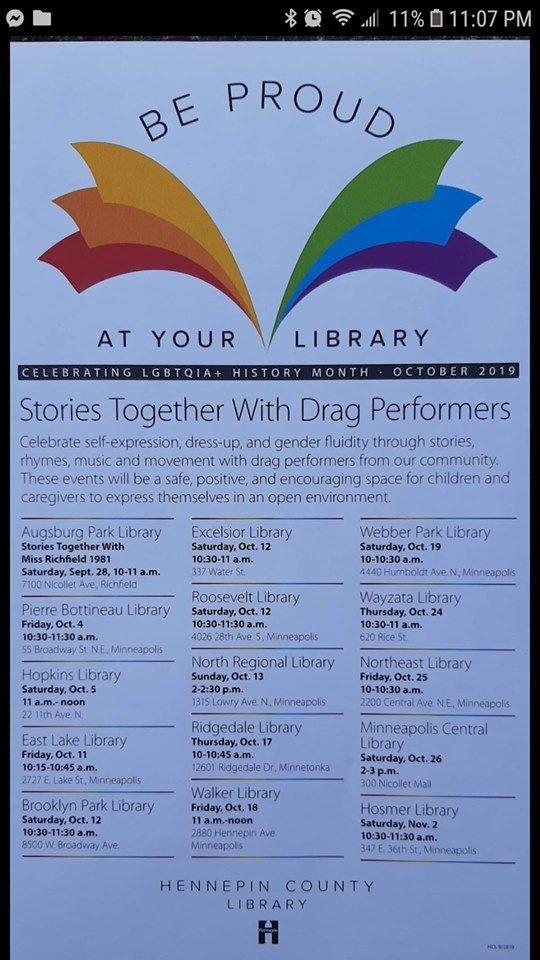 Hennepin County Public Library flyer showing drag queen story hour schedules. Photo courtesy of Child Protection League.